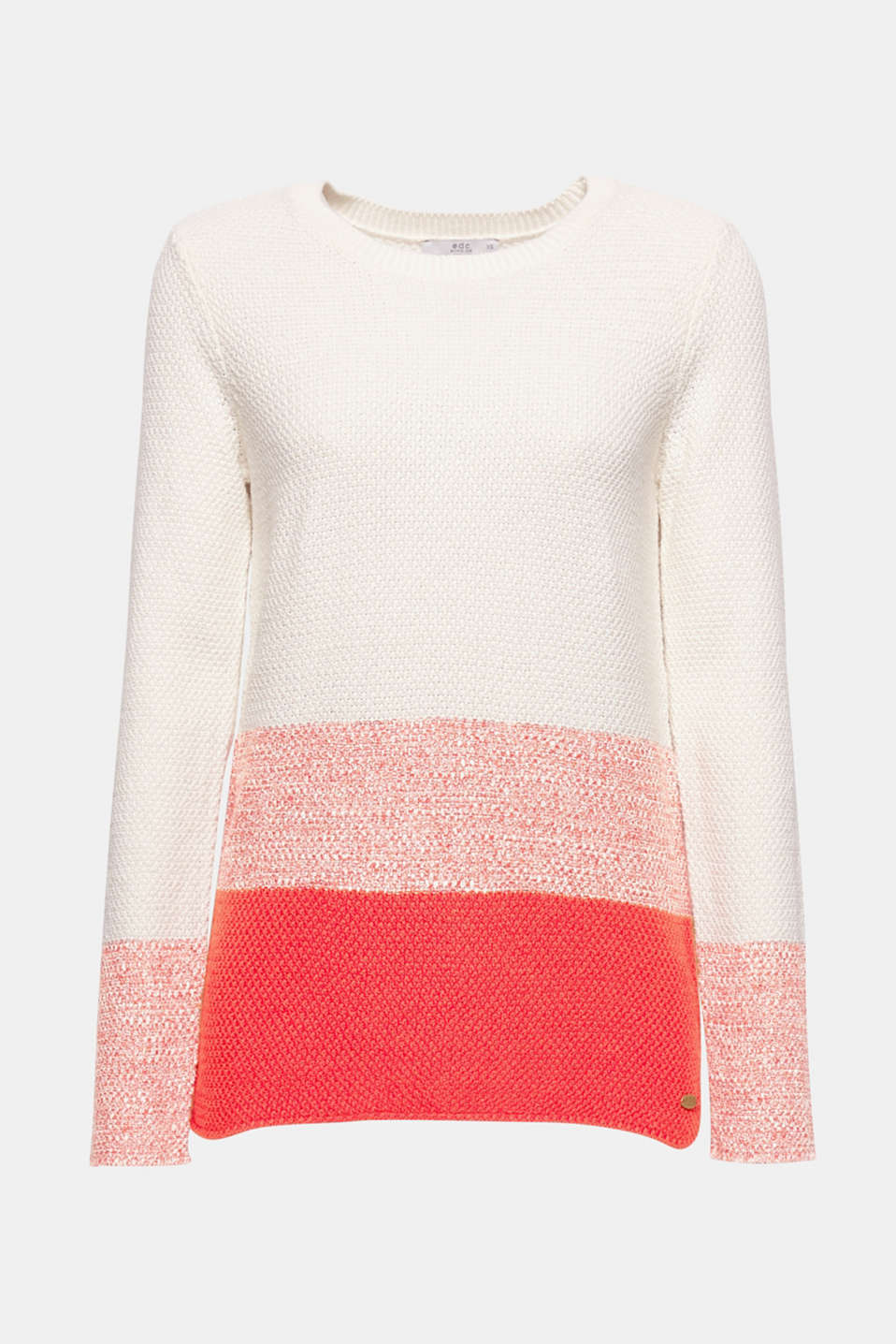 The interplay of the texture and the colour block effect gives this jumper in a comfortable cotton-linen blend an especially attractive look.