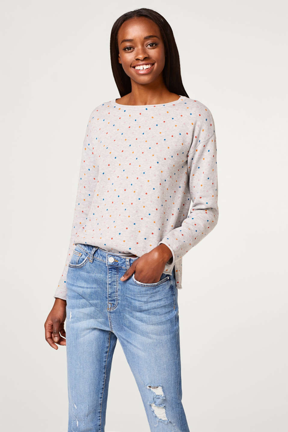 edc - Cotton jumper with a polka dot print