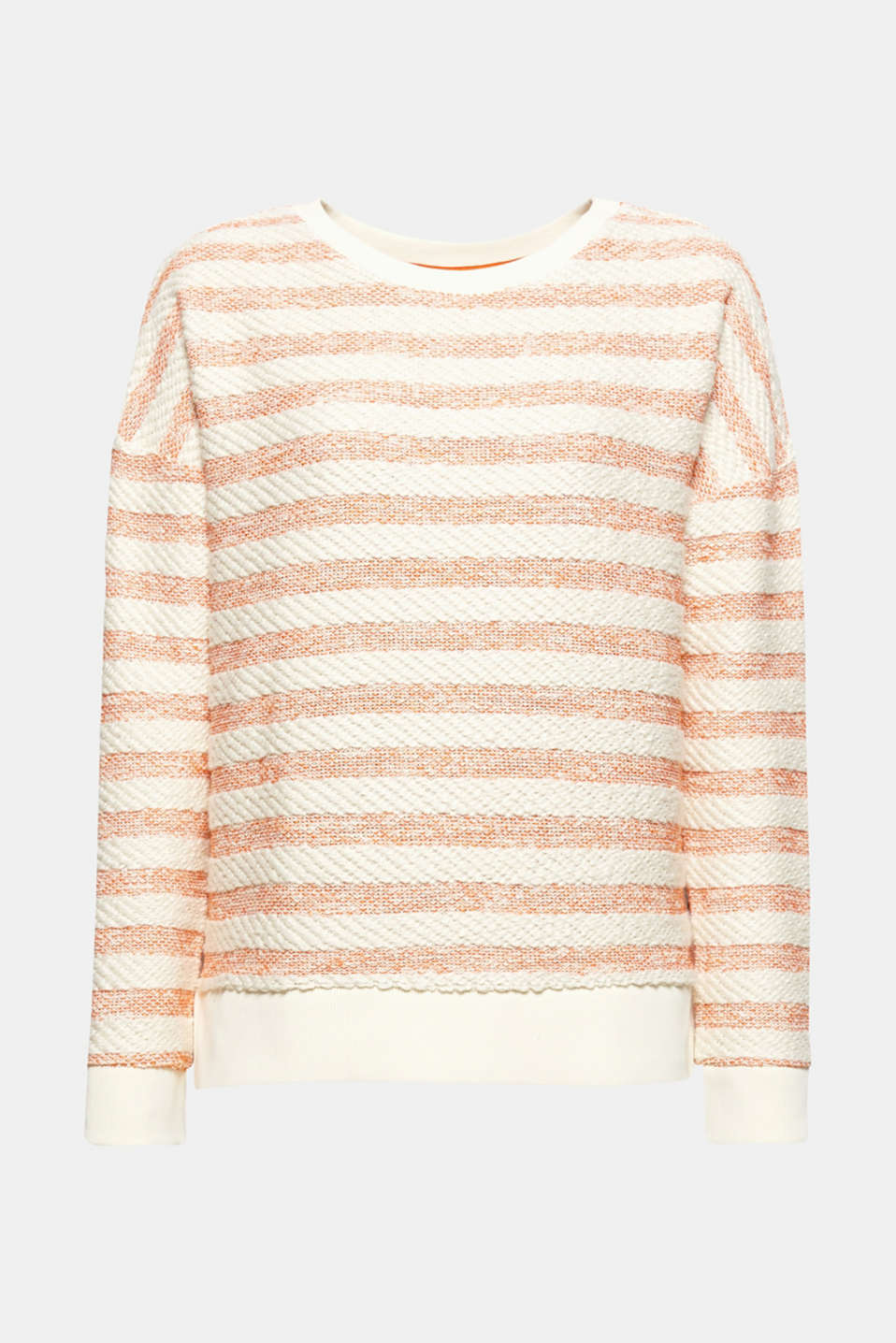 Fluffy soft textured stripes and the relaxed, casual high-low silhouette give this sweatshirt its brand new look.