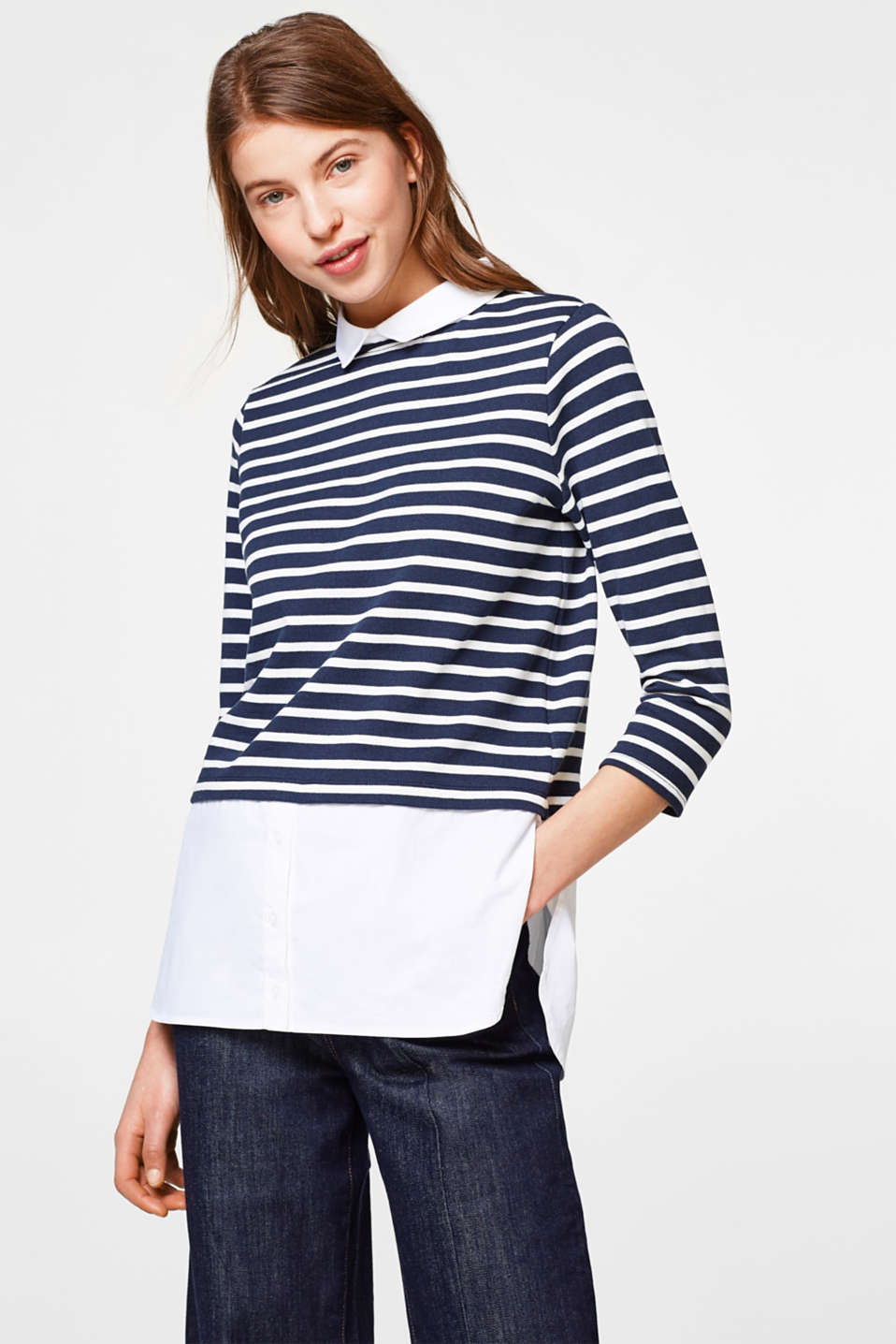 edc - 2-in-1 long sleeve top with a collar