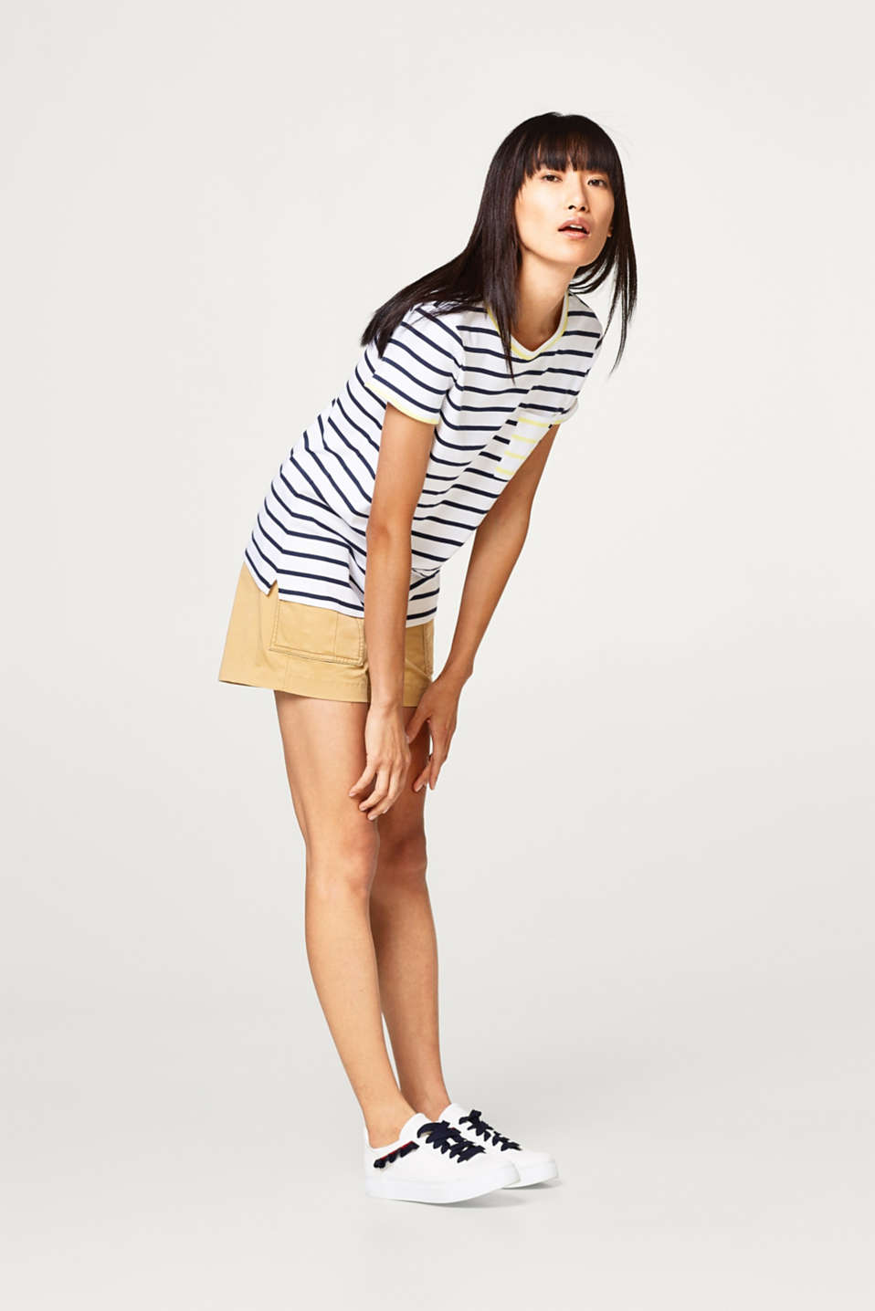 edc - Striped ribbed jersey T-shirt