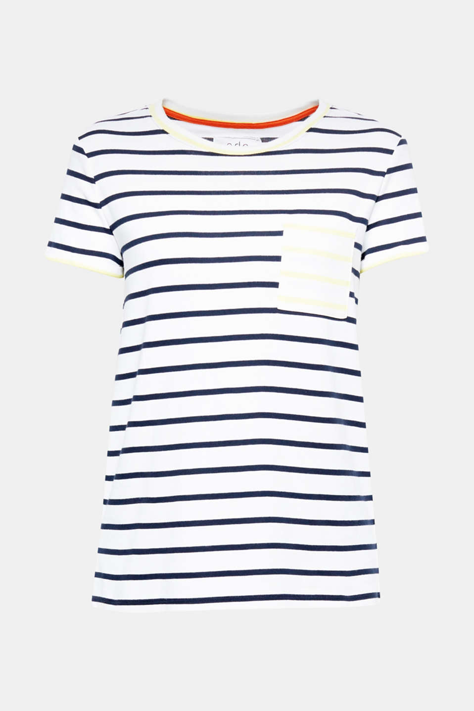 Summer essential: T-shirt made of compact ribbed jersey featuring an innovative, individual stripe pattern.