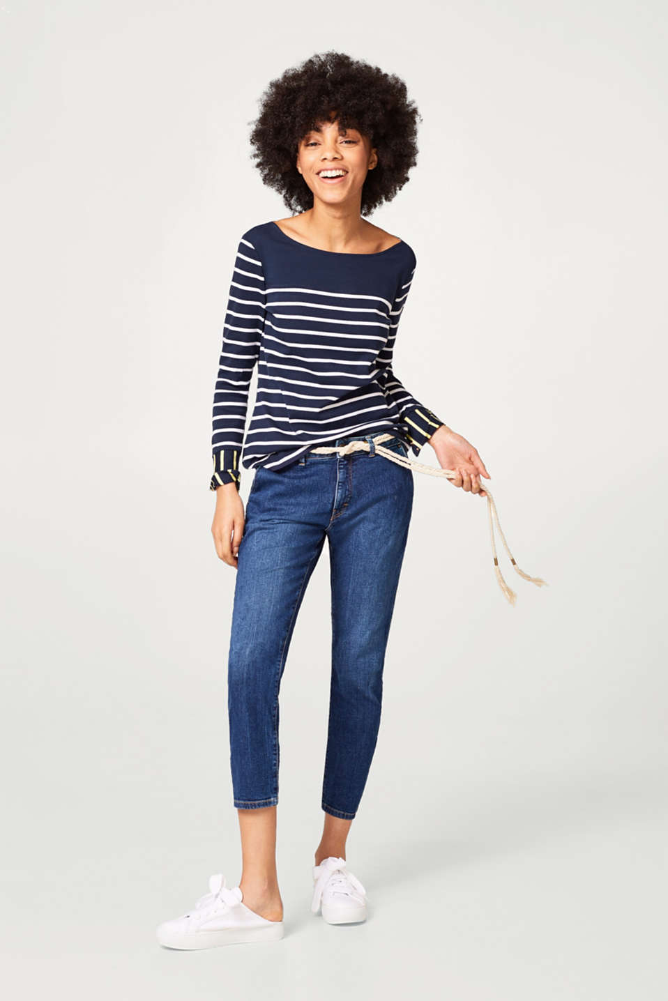 Ribbed jersey long sleeve striped top