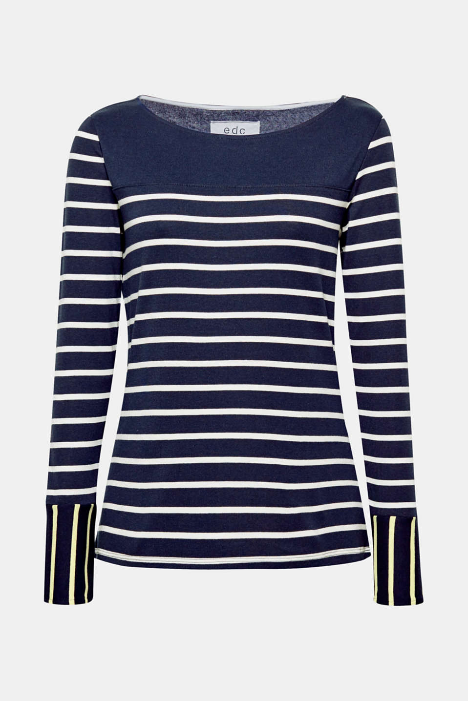 With button-fastening, contrasting sleeve ends, this ribbed jersey top features an unexpected nautical striped look.