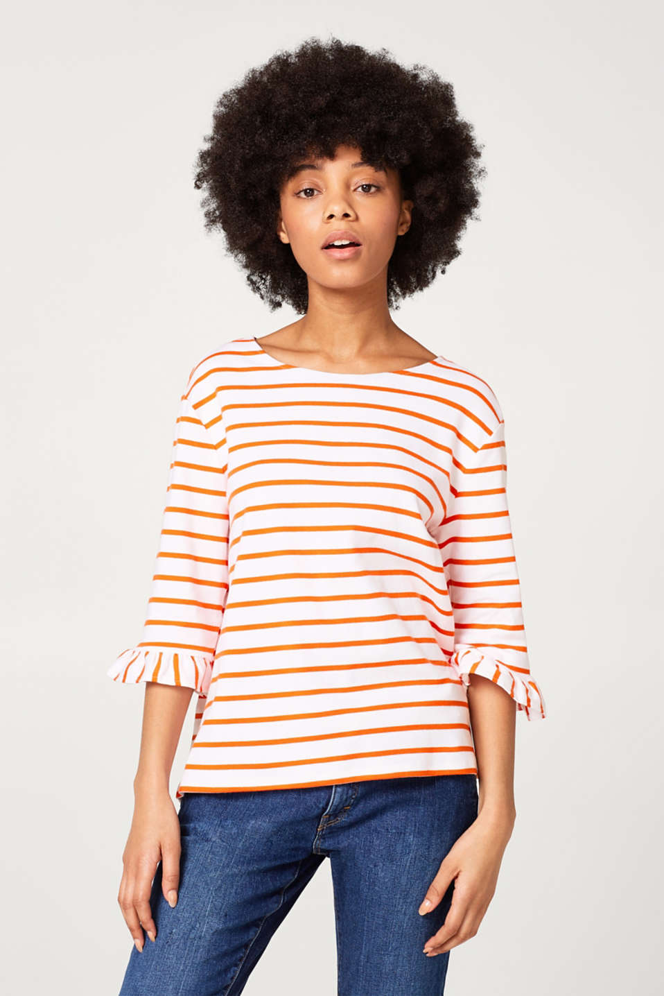 edc - Feminine striped T-shirt in ribbed jersey