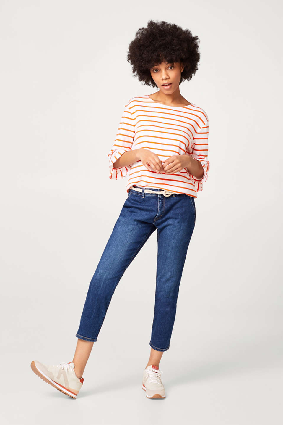Feminine striped T-shirt in ribbed jersey