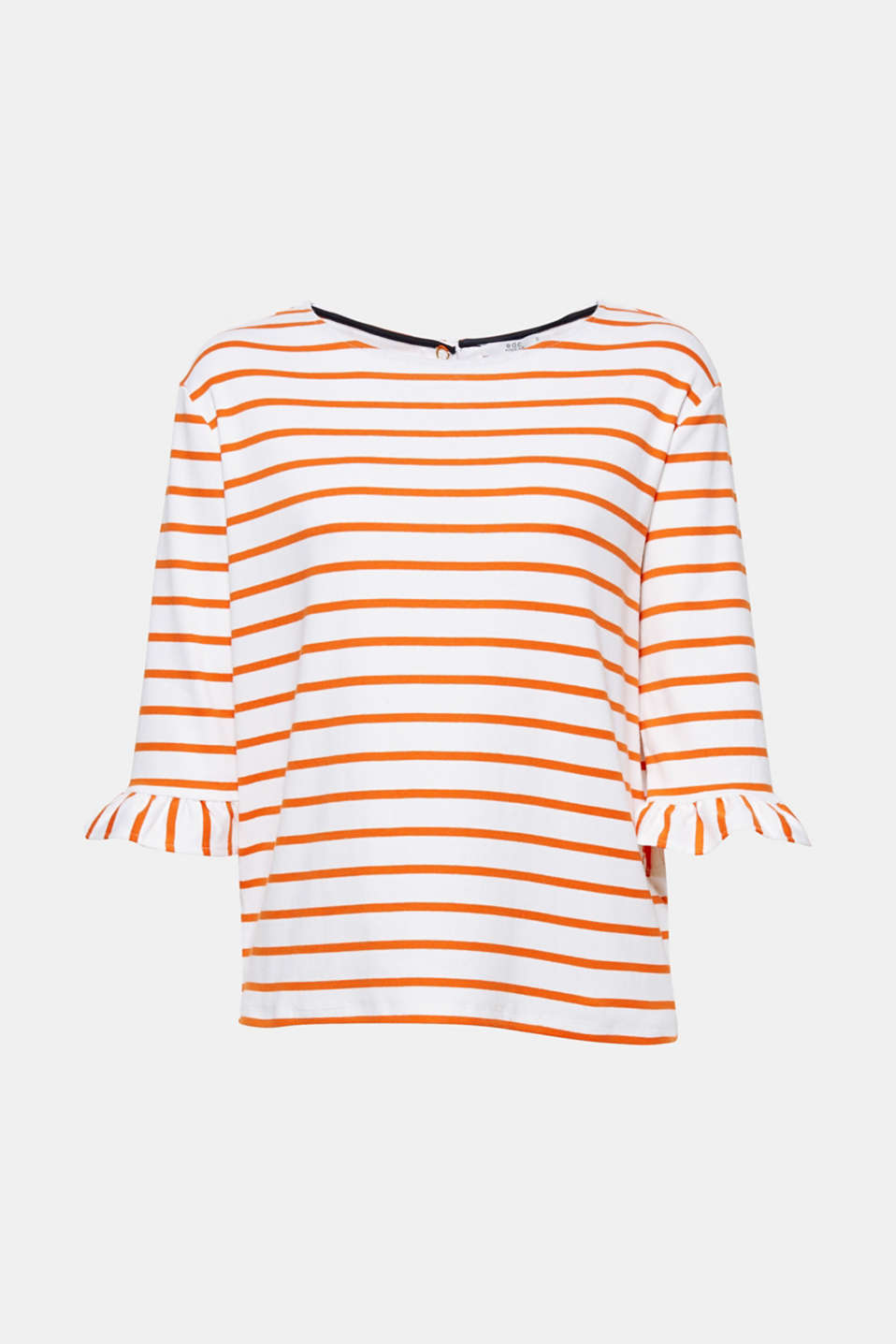 We love feminine styles! In this case with nautical stripes: stretch cotton top with flounces