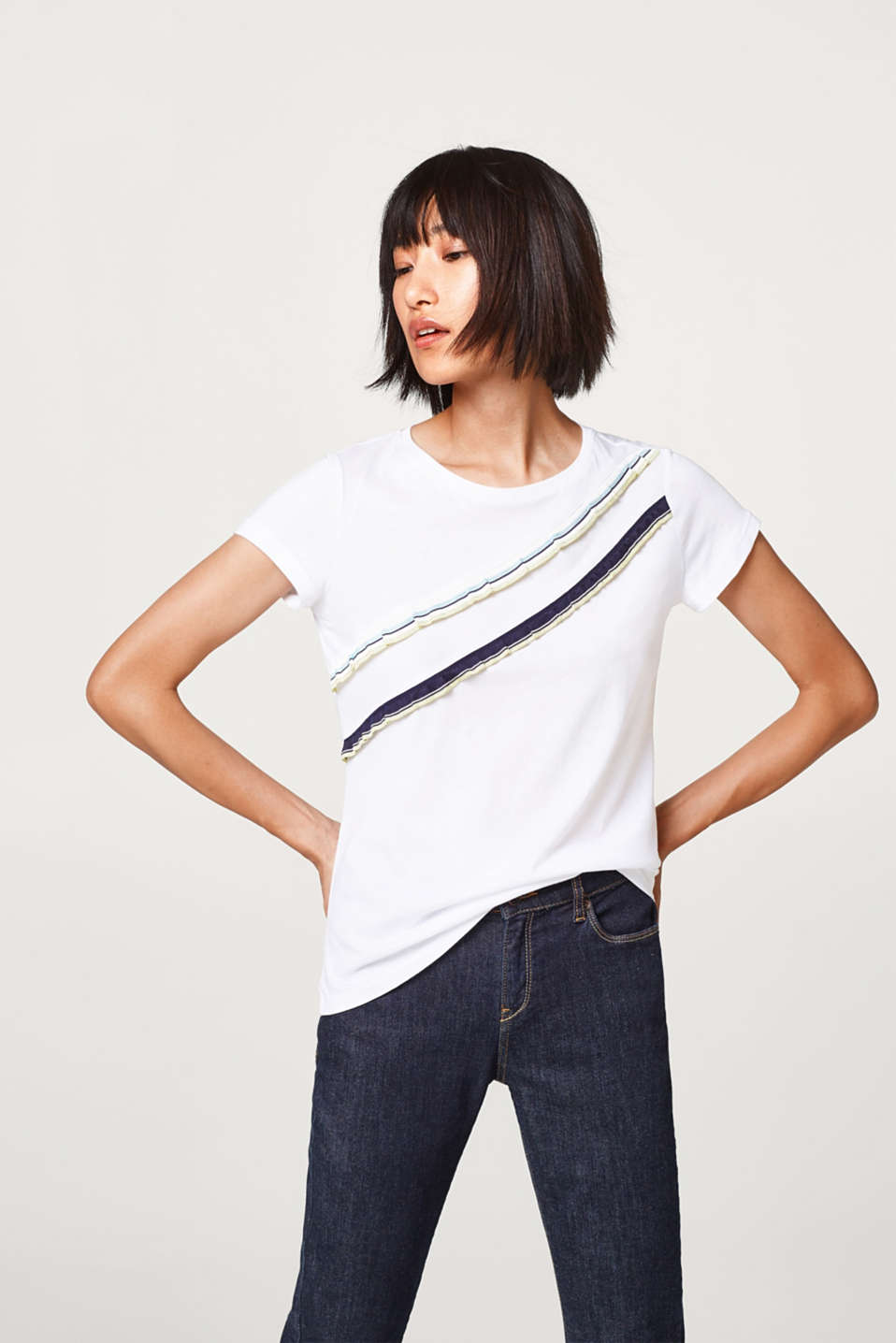 edc - Soft T-shirt with striped frills