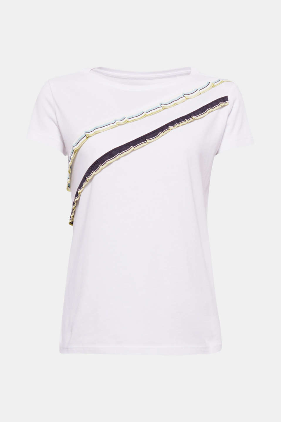 The striped, ribbed frills, running asymmetrically across the front, give this extra soft T-shirt its fashionable look.