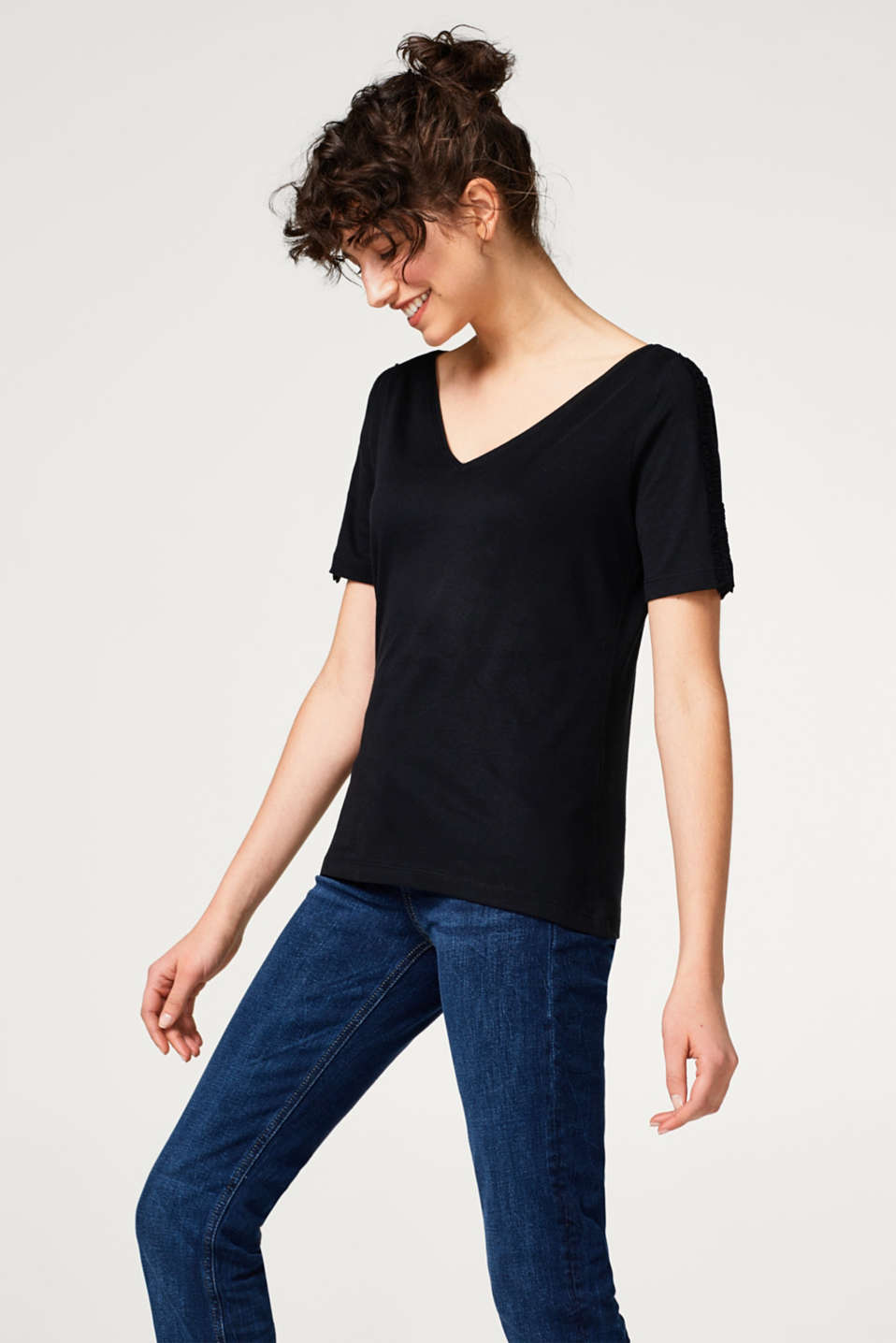 edc - Soft T-shirt with frilled details