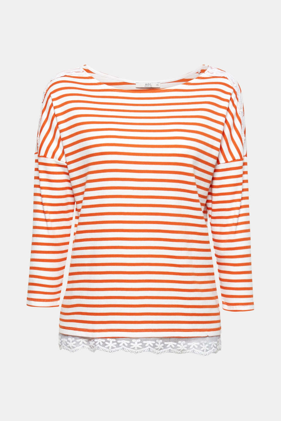 The interplay of striped textured jersey and feminine lace gives this long sleeve top a new nautical trend look!