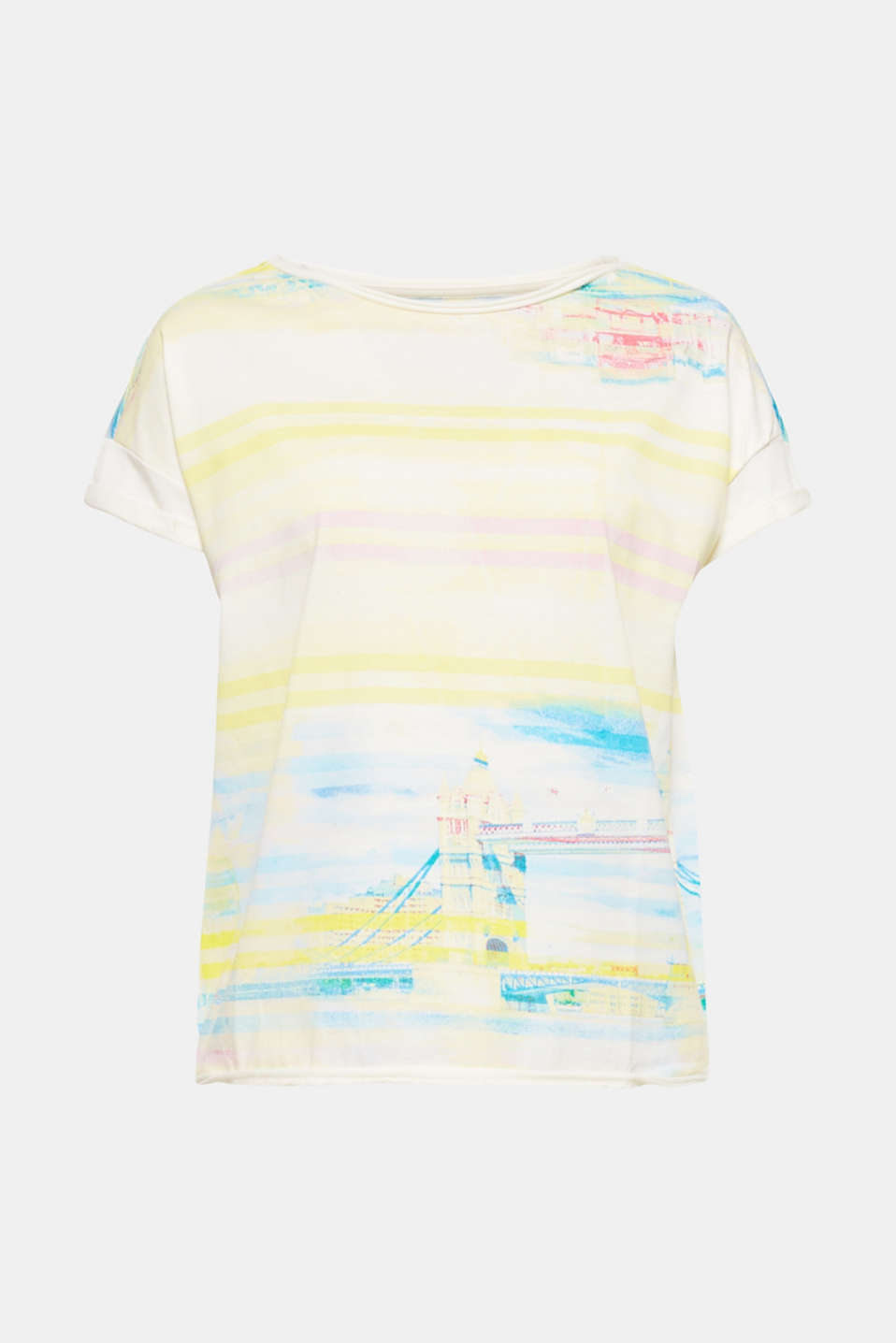 The all-over print in pastel tone stripes with a Tower Bridge motif makes this T-shirt a summery head-turner.