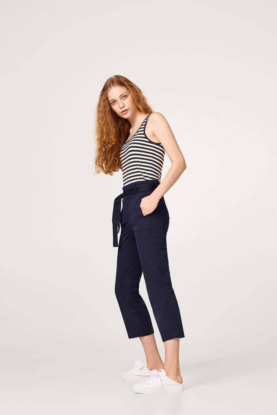 Striped vest with stretch for comfort