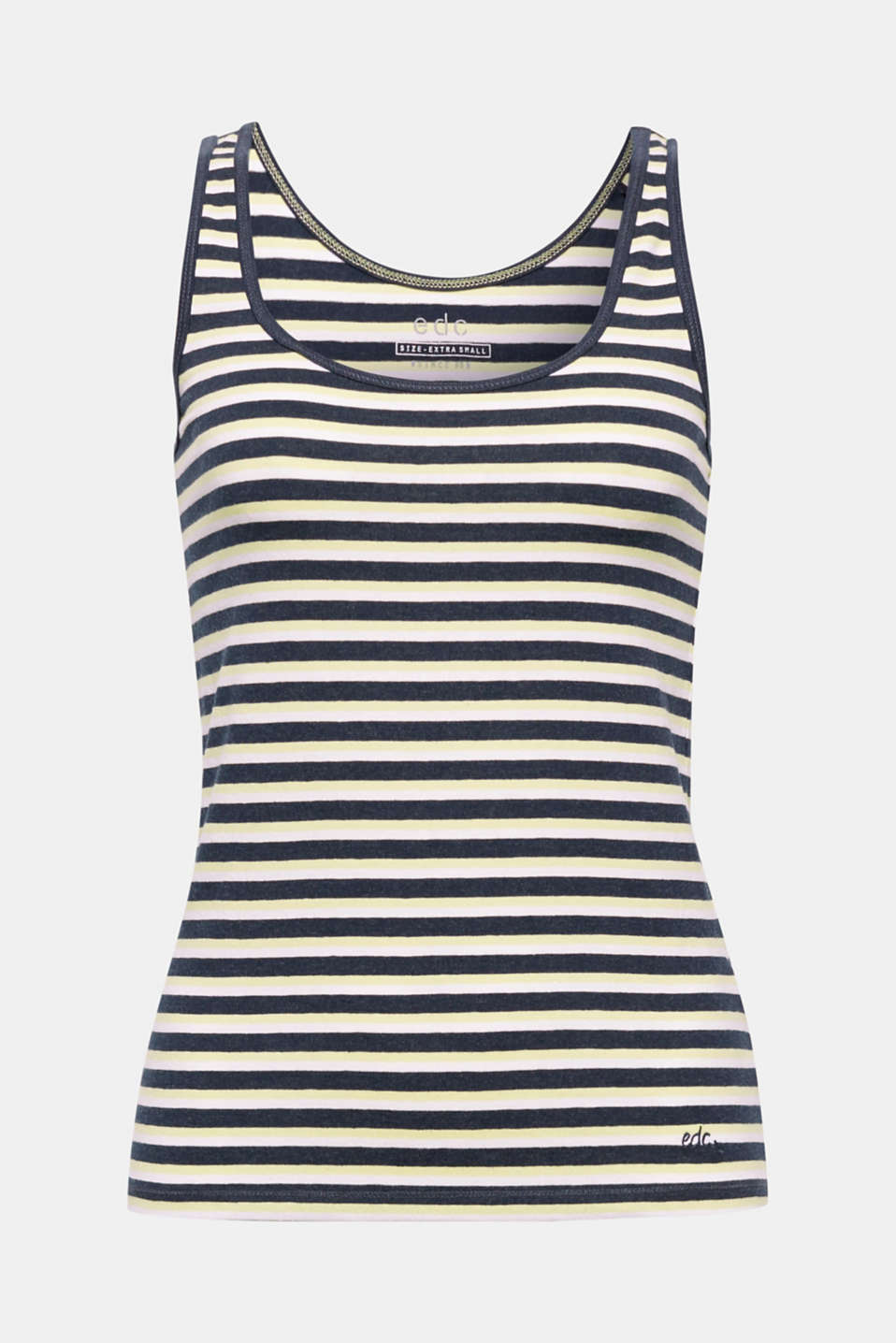 This soft vest made from striped blended cotton jersey with stretch for comfort is a casual piece.