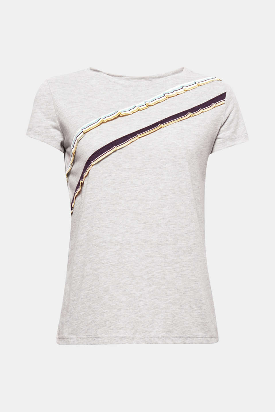 The asymmetric frilled trim in a striped rib knit gives this soft round neck T-shirt its fashionable look.