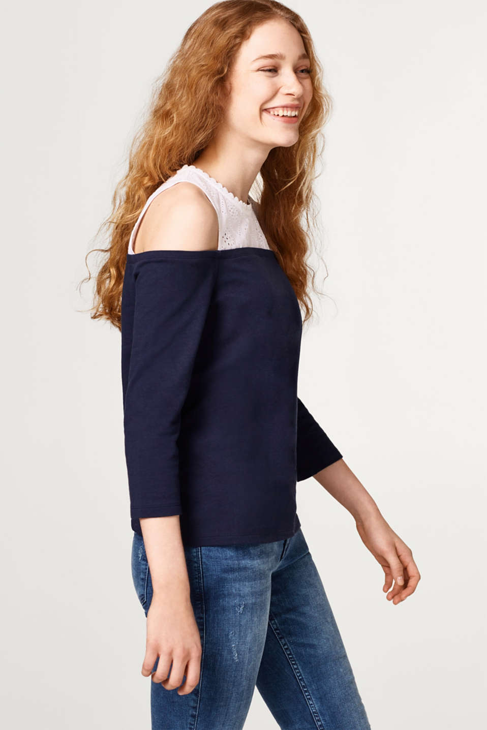 edc - Off-Shoulder-Shirt im Material-Mix