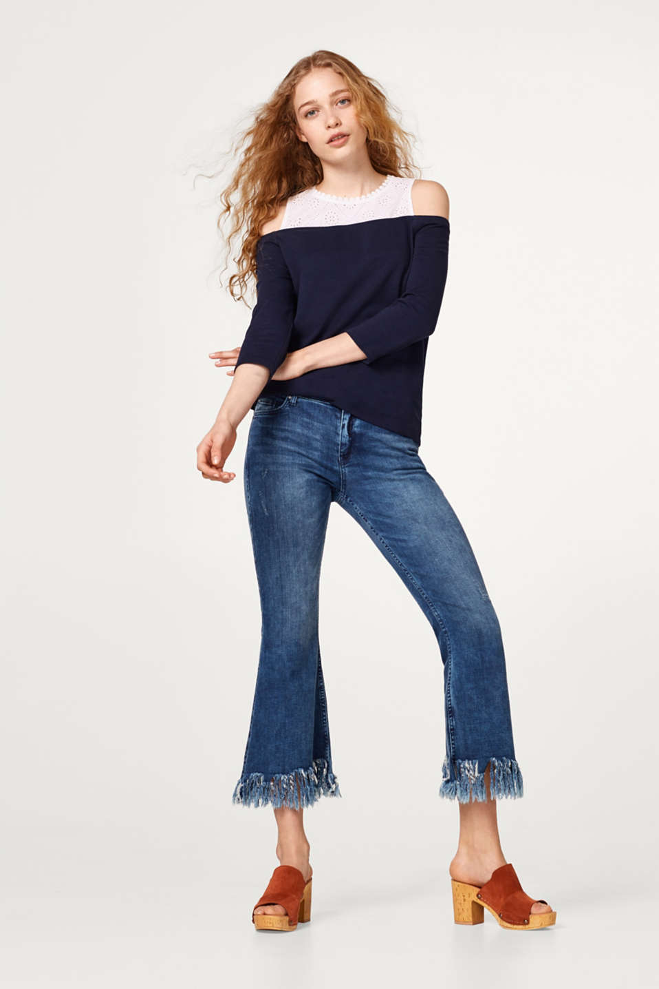 Off-Shoulder-Shirt im Material-Mix