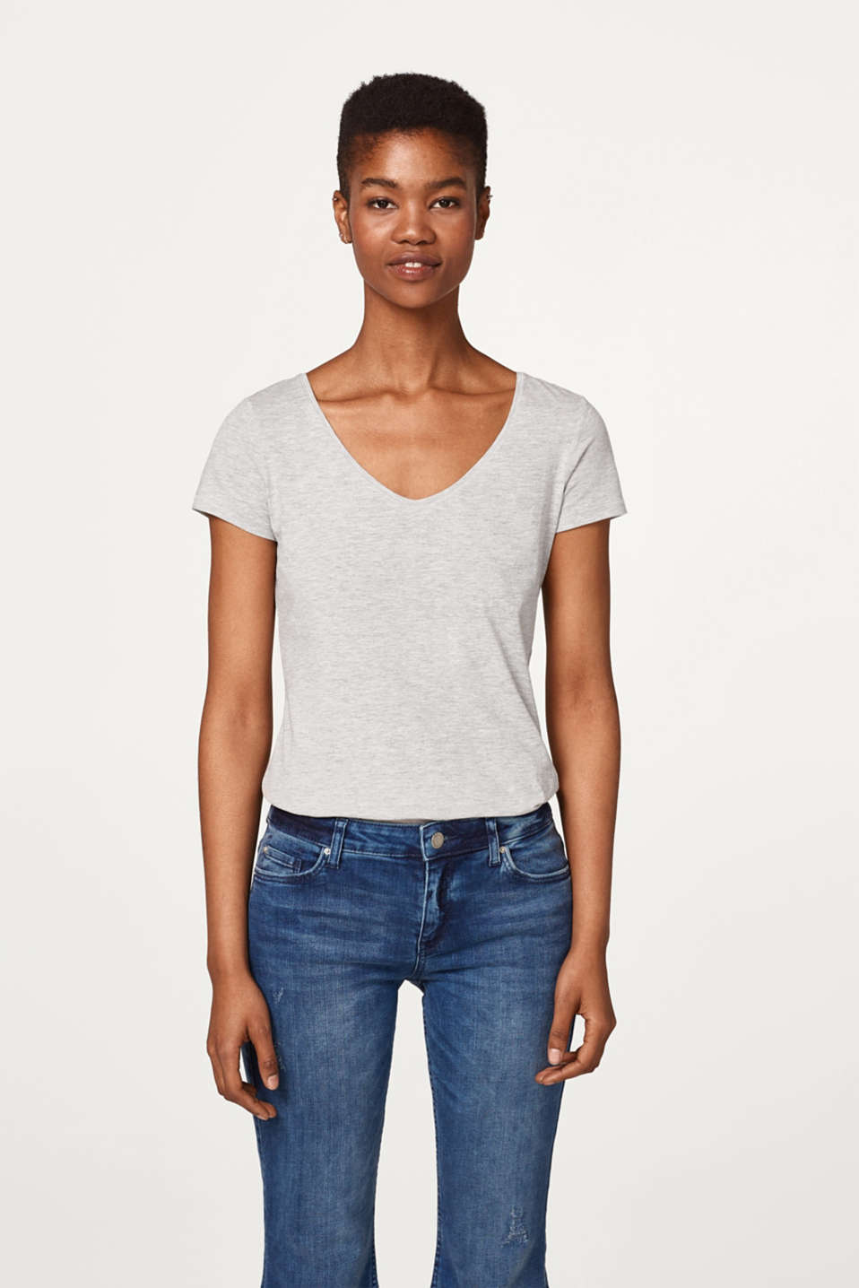 edc - Melange basic T-shirt with a V-neckline