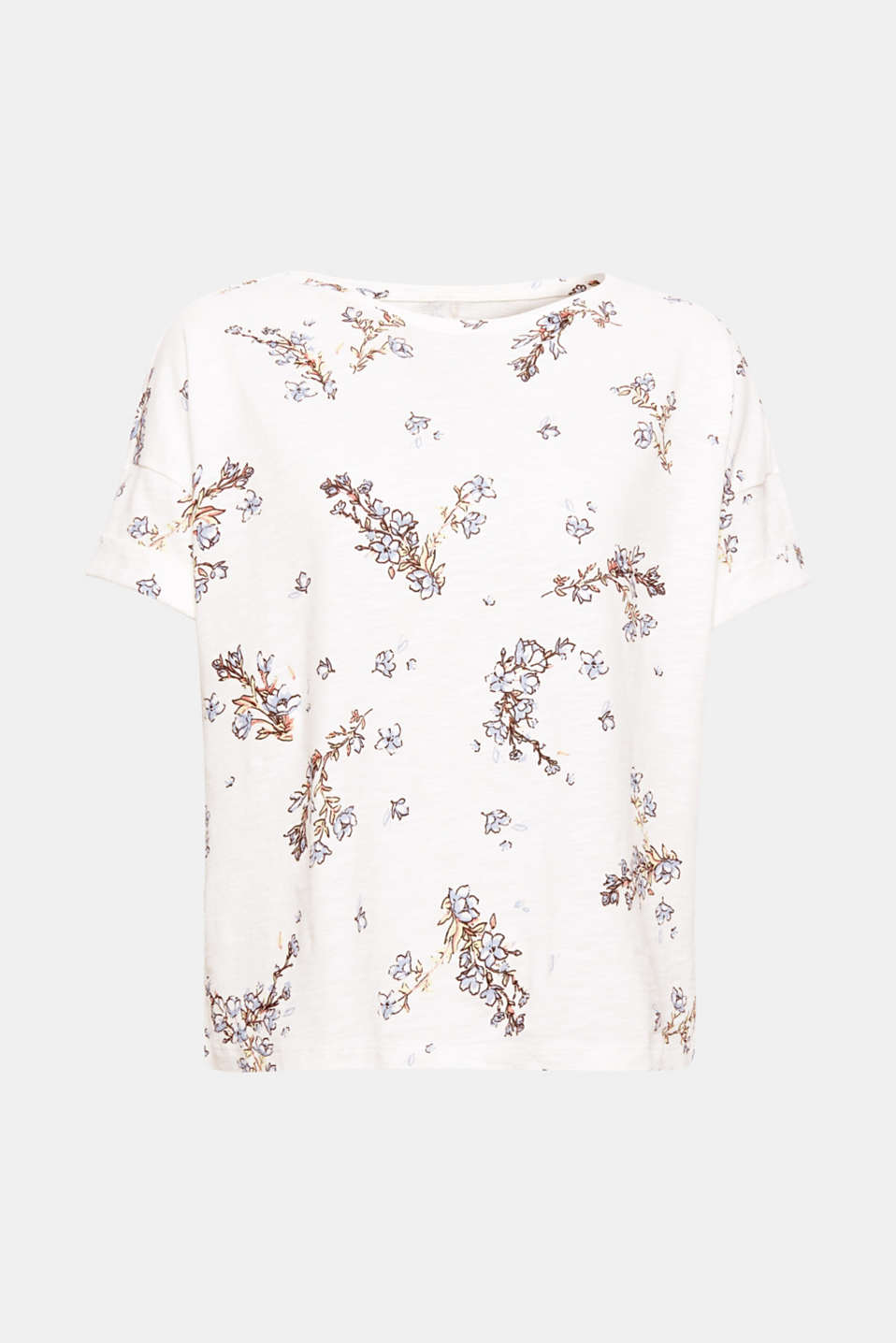 The combination of the loose, casually caressing silhouette and romantic floral pattern gives this T-shirt a new summer look!