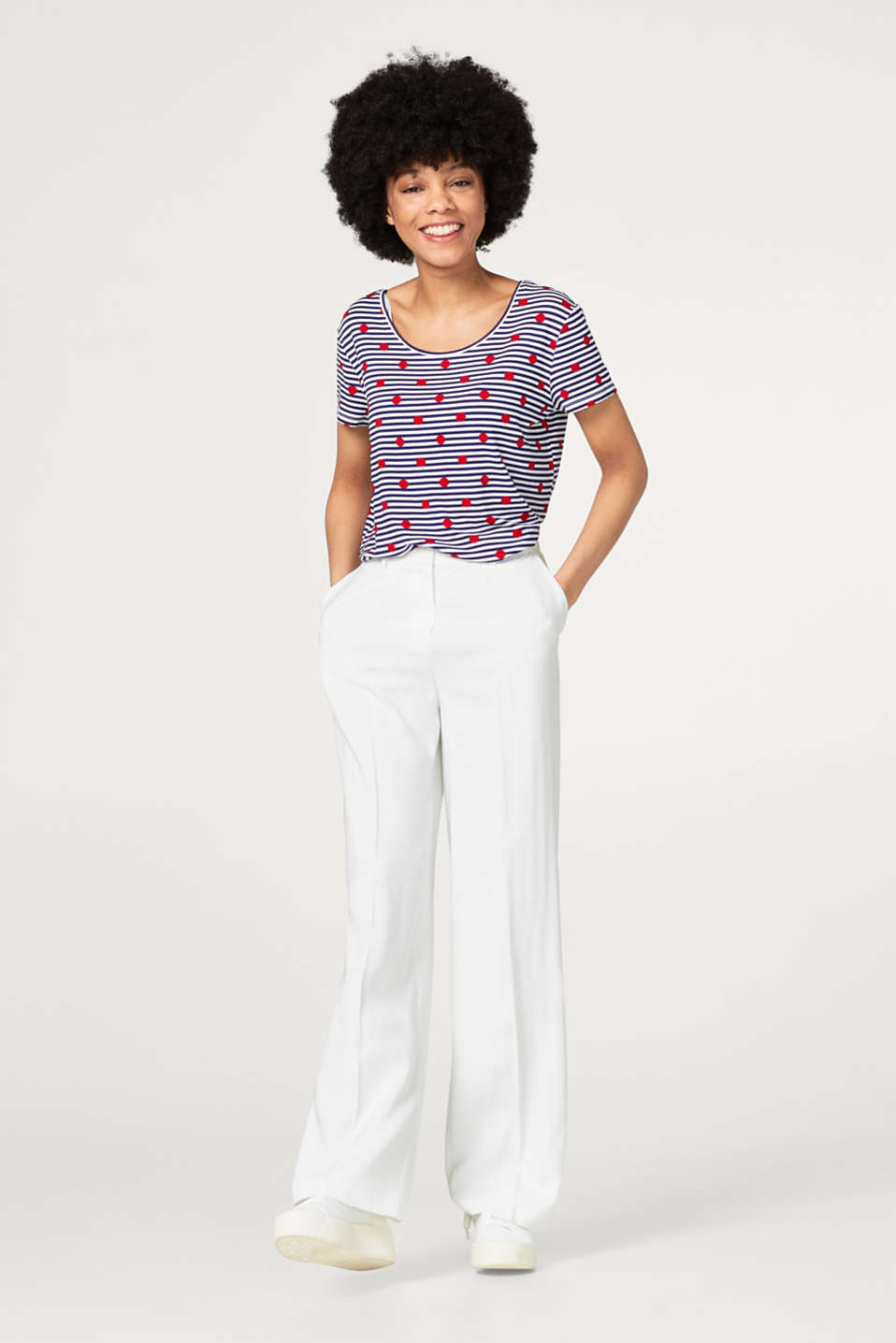 Soft T-shirt with a stripe-polka dot print