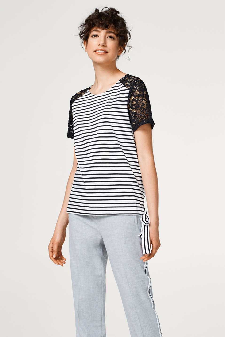 edc - Striped T-shirt with lace sleeves