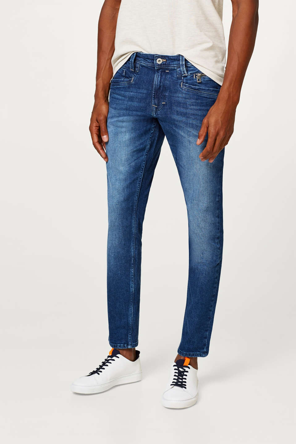 edc - Stretch jeans with a zip detail and a vintage wash