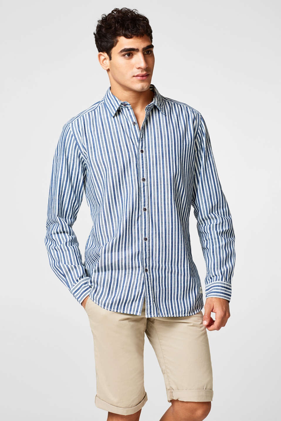 edc - Shirt with vertical stripes, in cotton