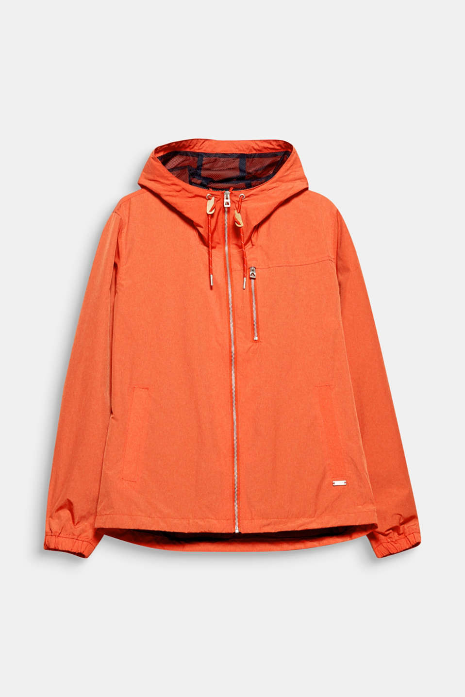 Beat dreary weather with bold, trendy colour: lightweight hooded outdoor jacket.
