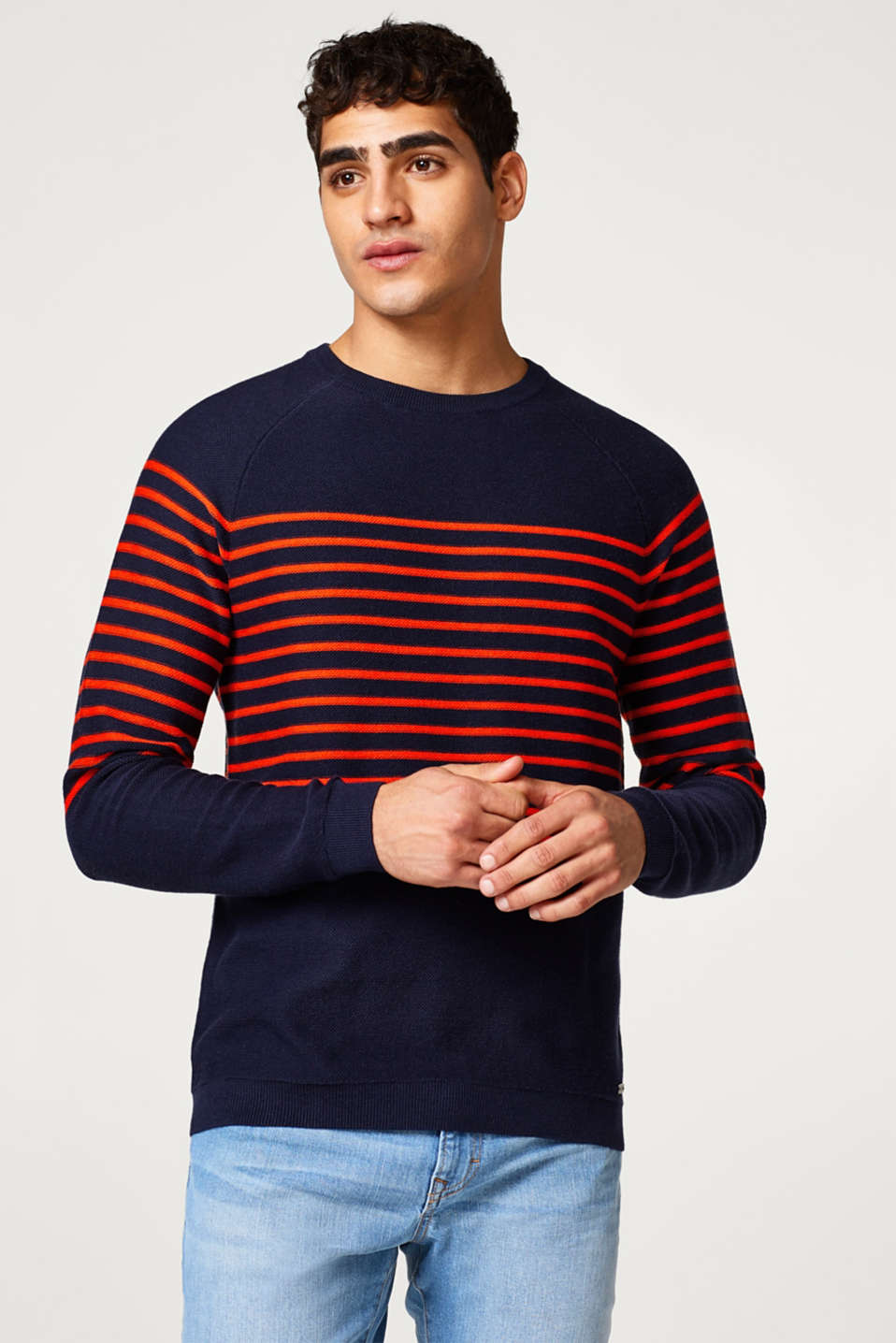 edc - Jumper in a striped look, in pure cotton