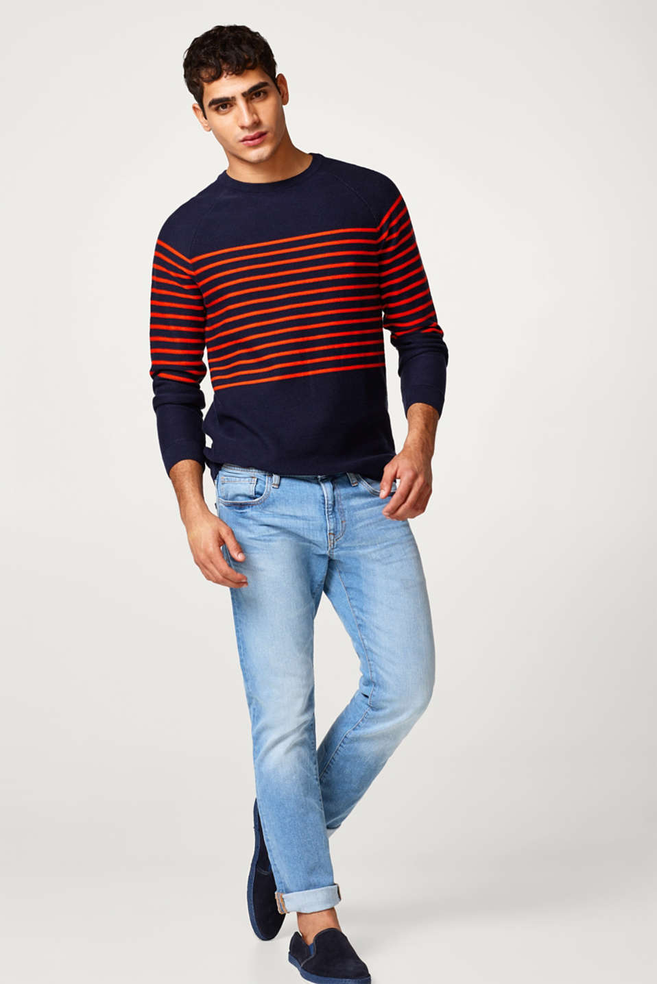Jumper in a striped look, in pure cotton