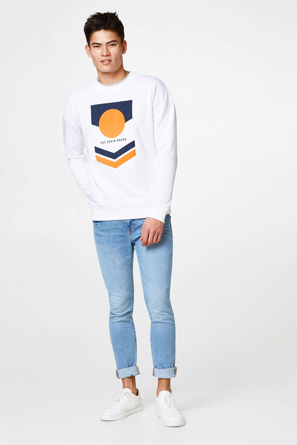 Cotton sweatshirt with a retro print