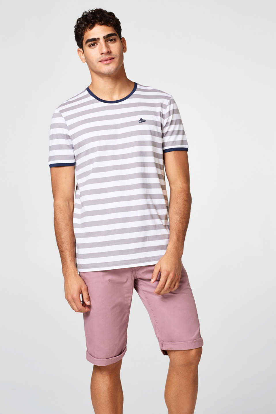 edc - Striped jersey T-shirt with ribbed borders