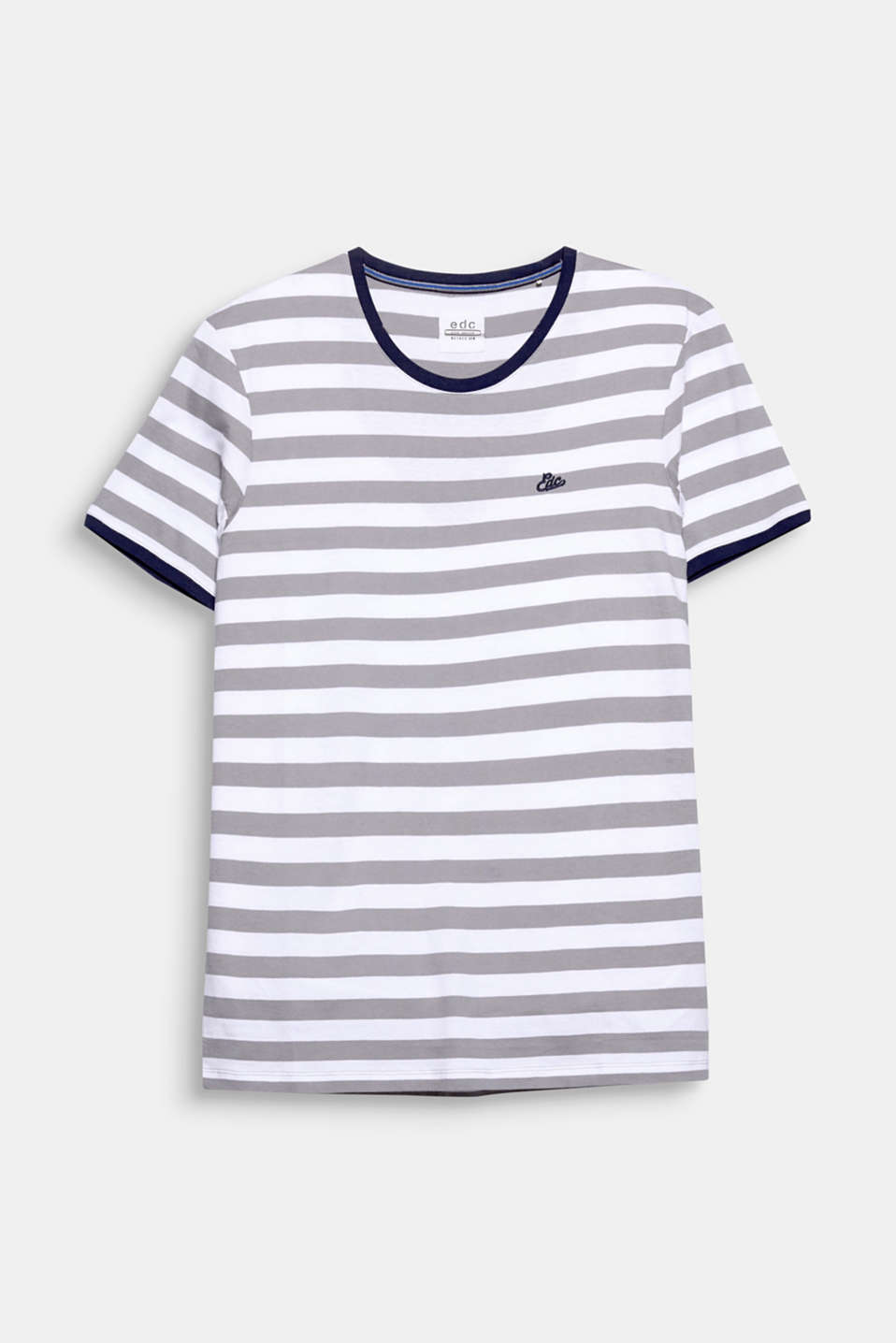 Sporty stripes and contrasting colour ribbed cuffs give this pure cotton T-shirt a distinctive look.
