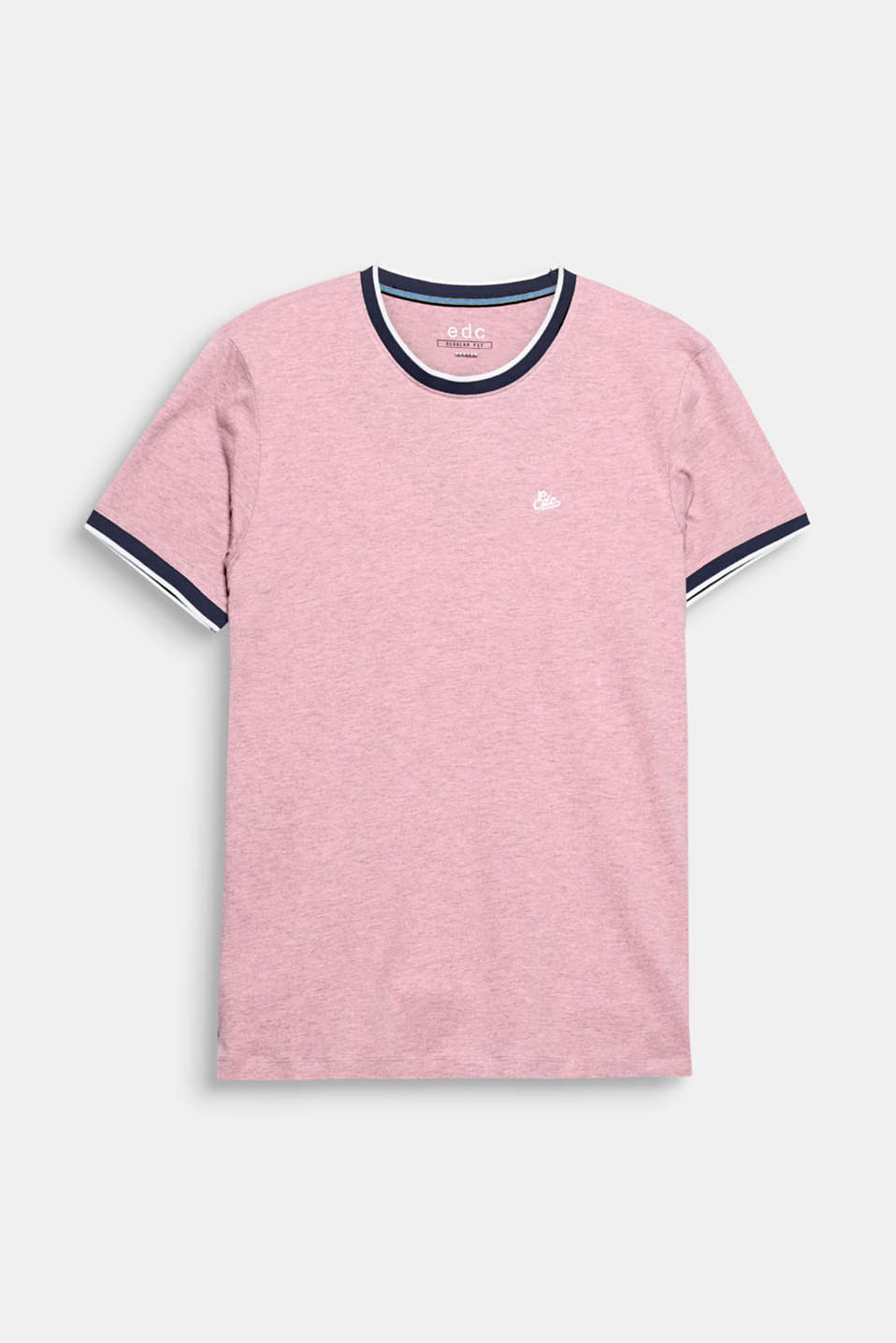 The contrasting colour ribbed borders give this cotton T-shirt a sporty look.