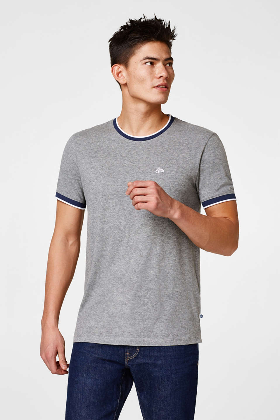 edc - Jersey T-shirt with ribbed borders