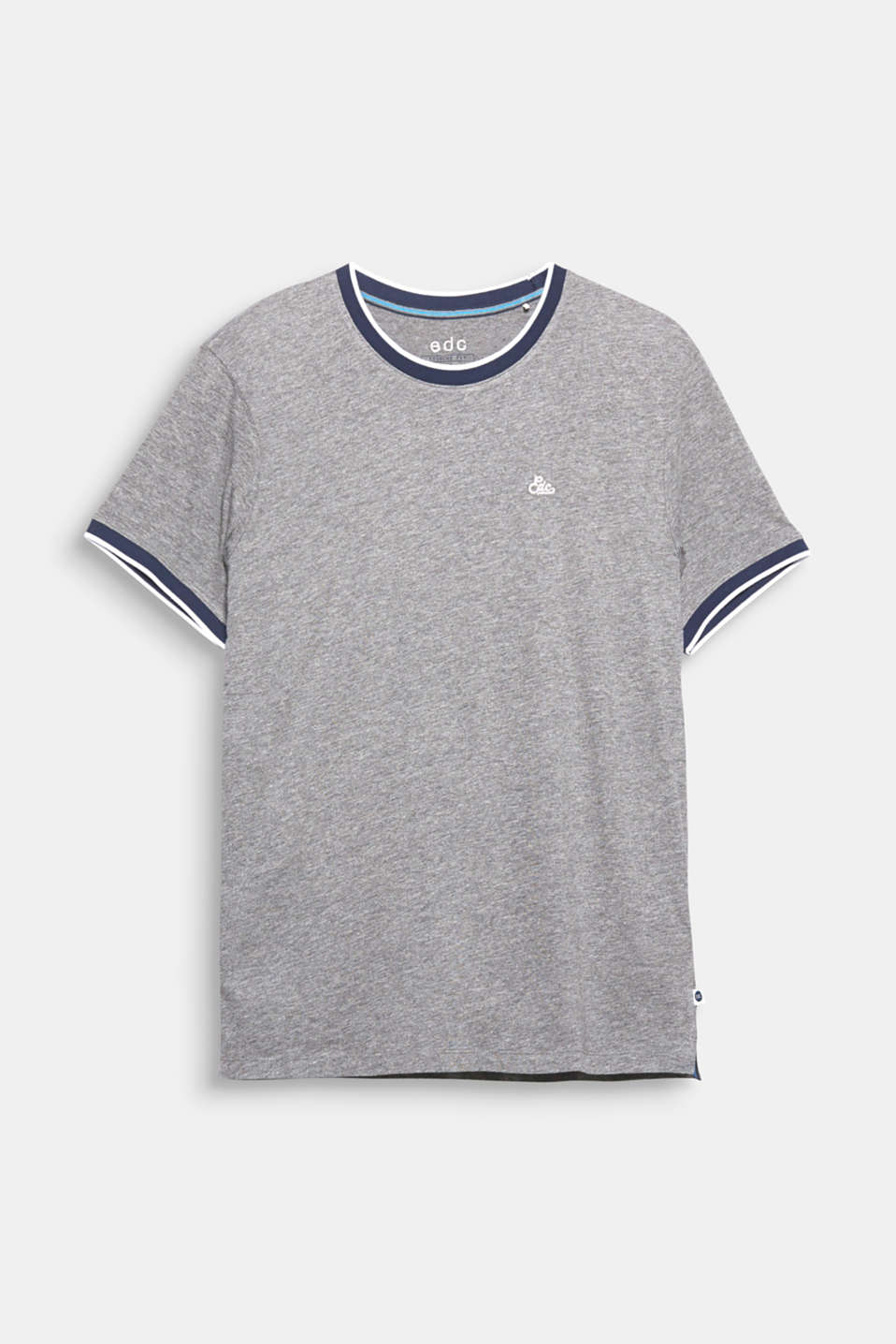 The contrast colour ribbed borders give this cotton T-shirt a sporty look.