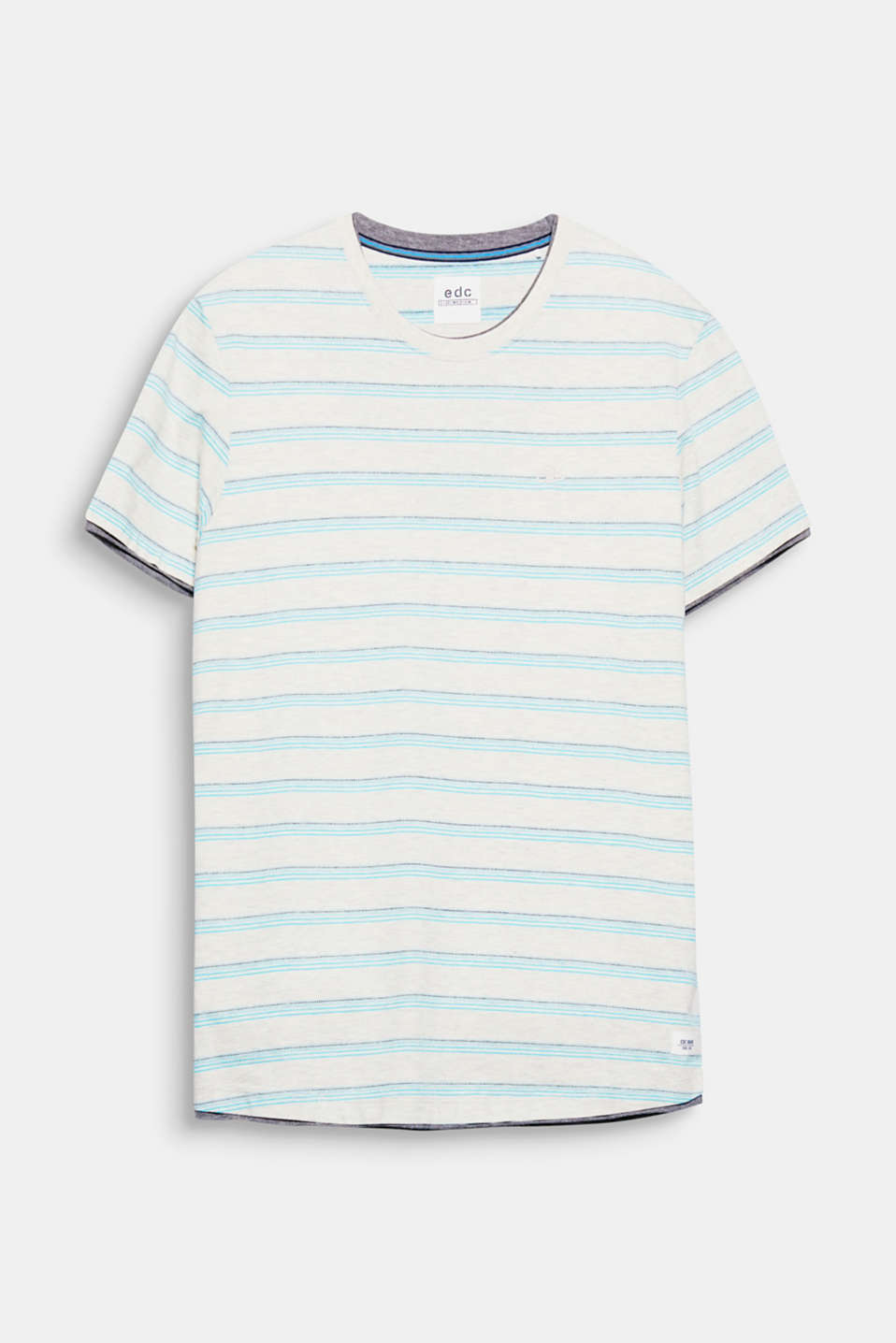 Melange jersey and sporty jacquard stripes add texture to this cotton T-shirt.