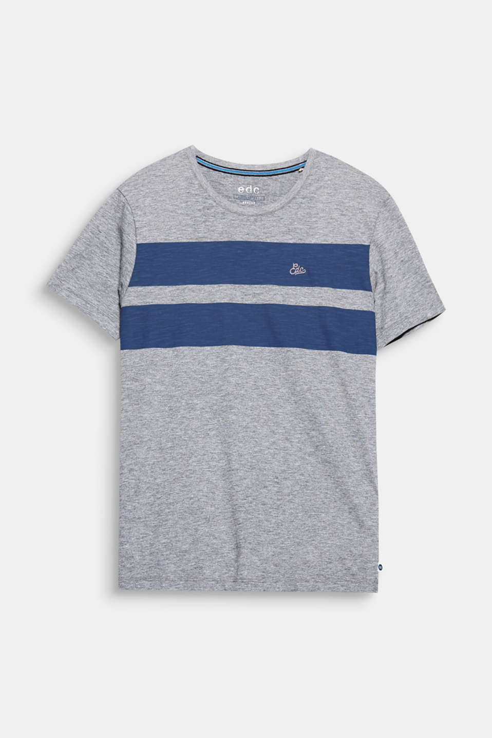 Bold block stripes give this melange slub T-shirt a cool, urban look.