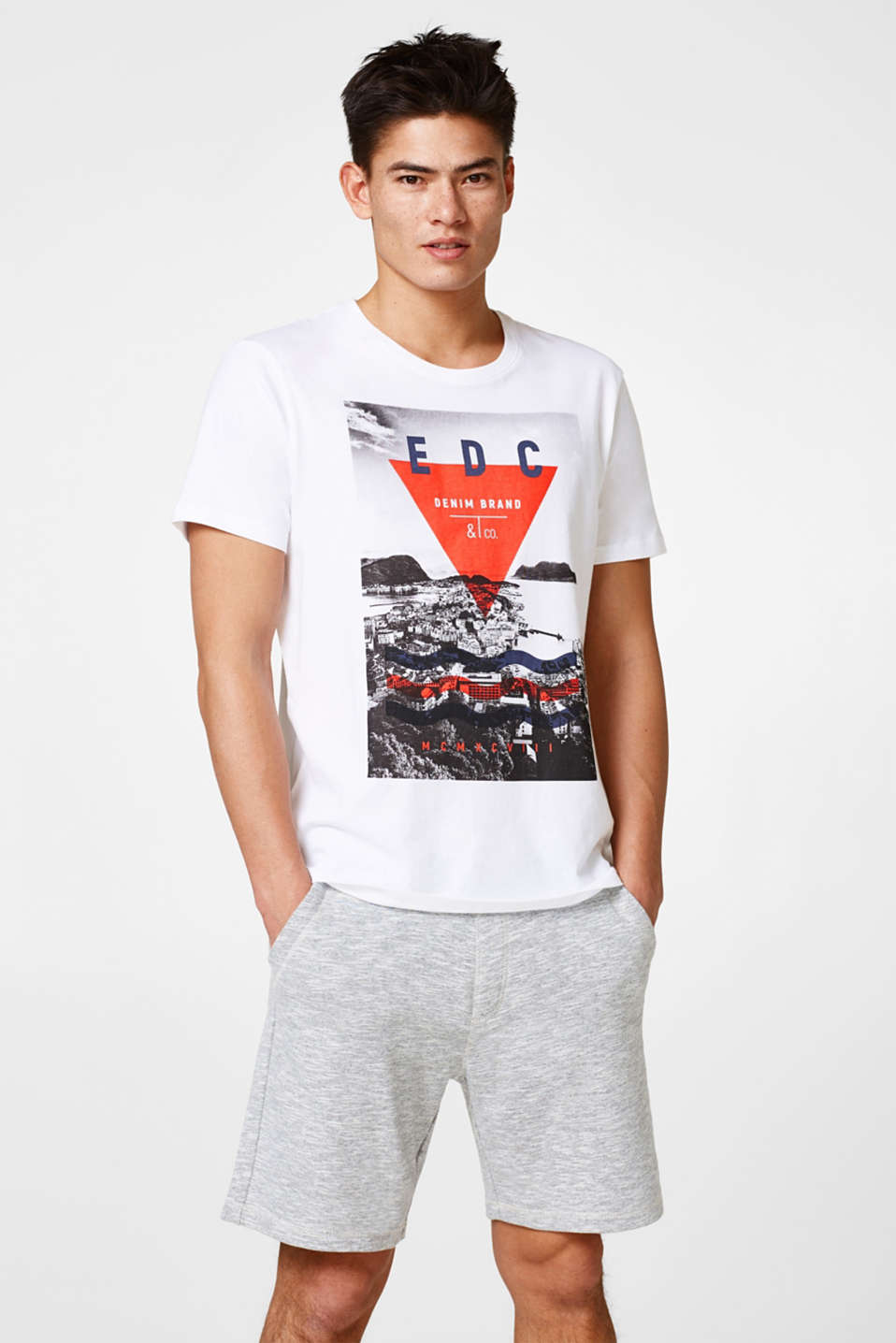 edc - T-shirt en jersey chiné à imprimé photo, coton