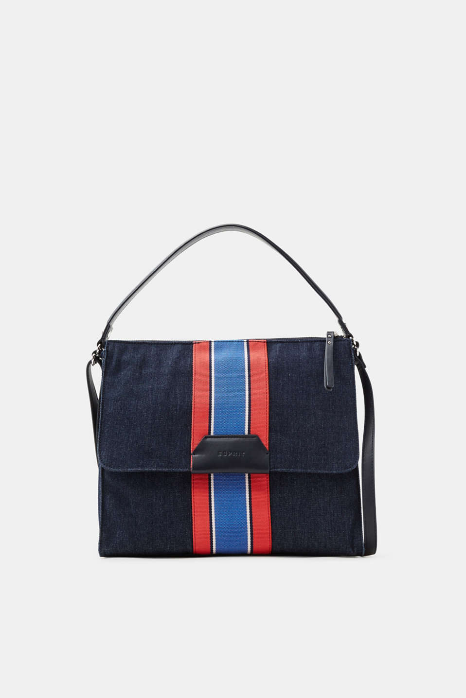 We love denim! This hobo bag stands out thanks to its melange denim finish and distinctive woven stripes.