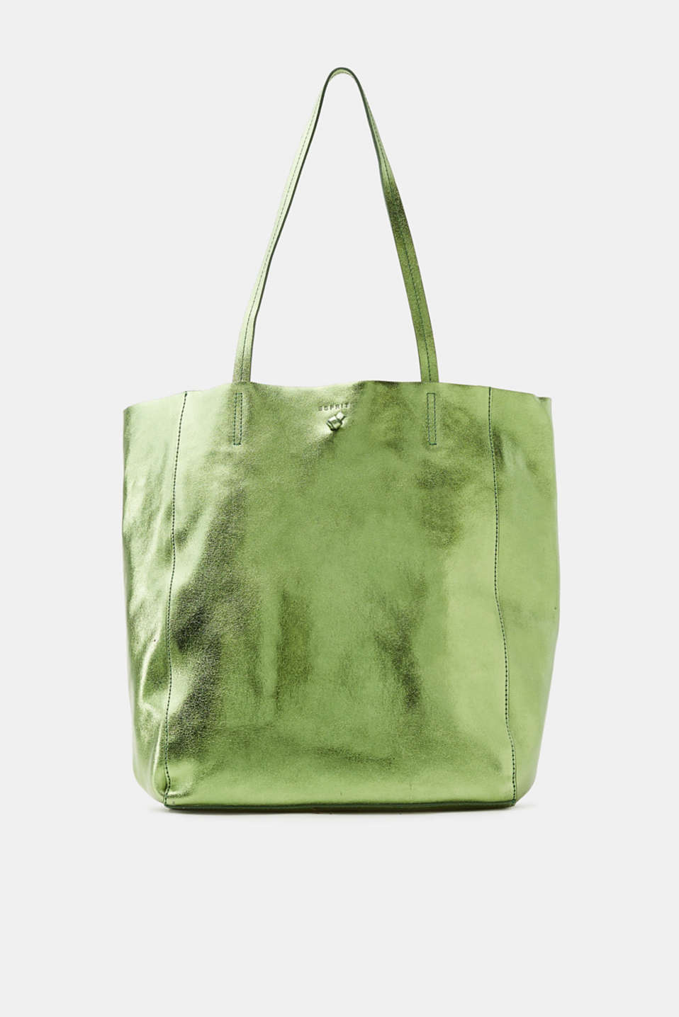 Esprit - Metallic-shopper i crash-læder
