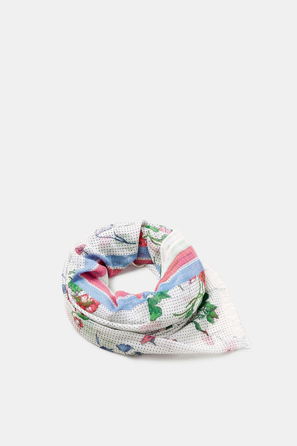 This spring-ready scarf can be wrapped and draped however you please with its cheery floral and polka dot print.