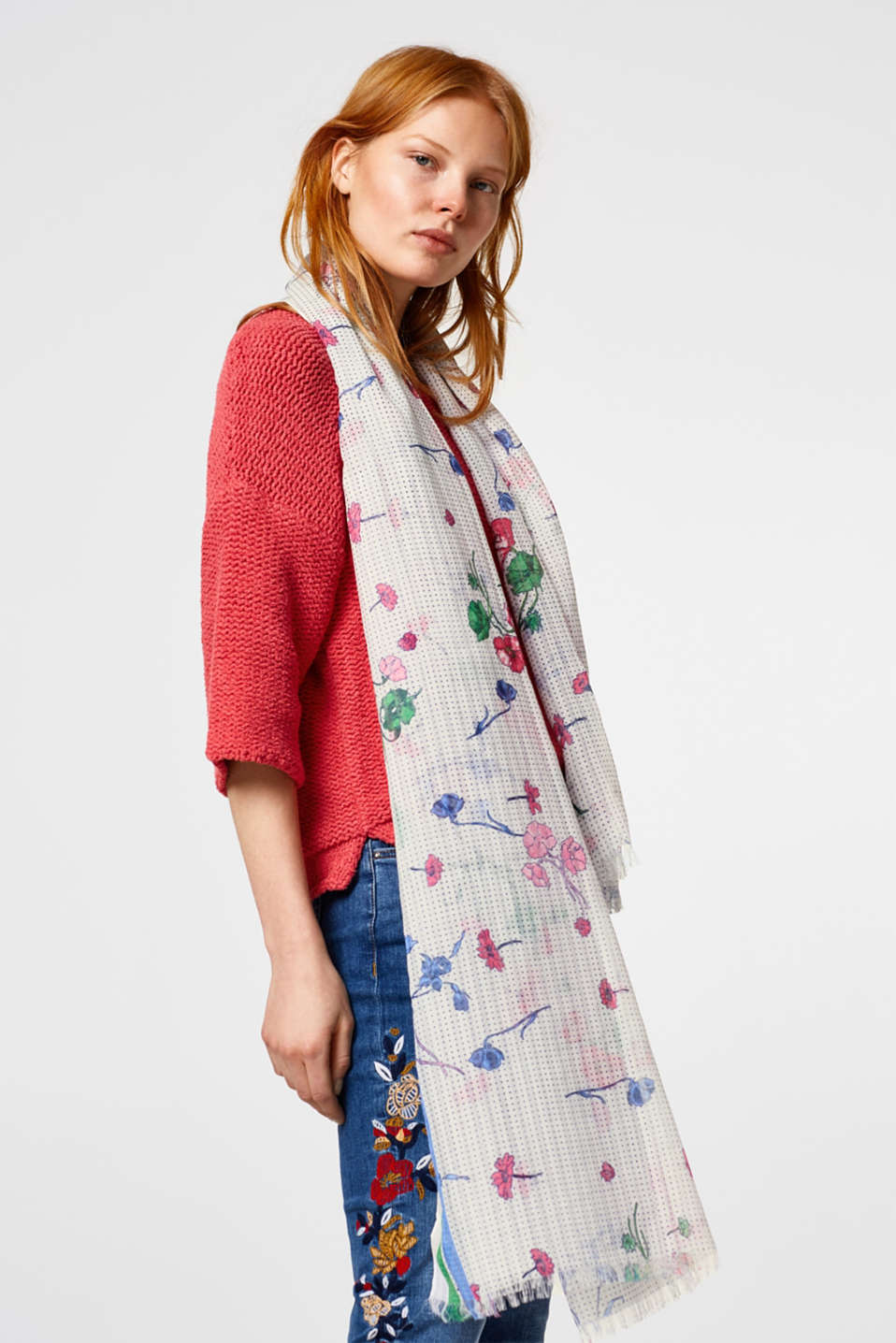 Flowing scarf with a floral + polka dot print