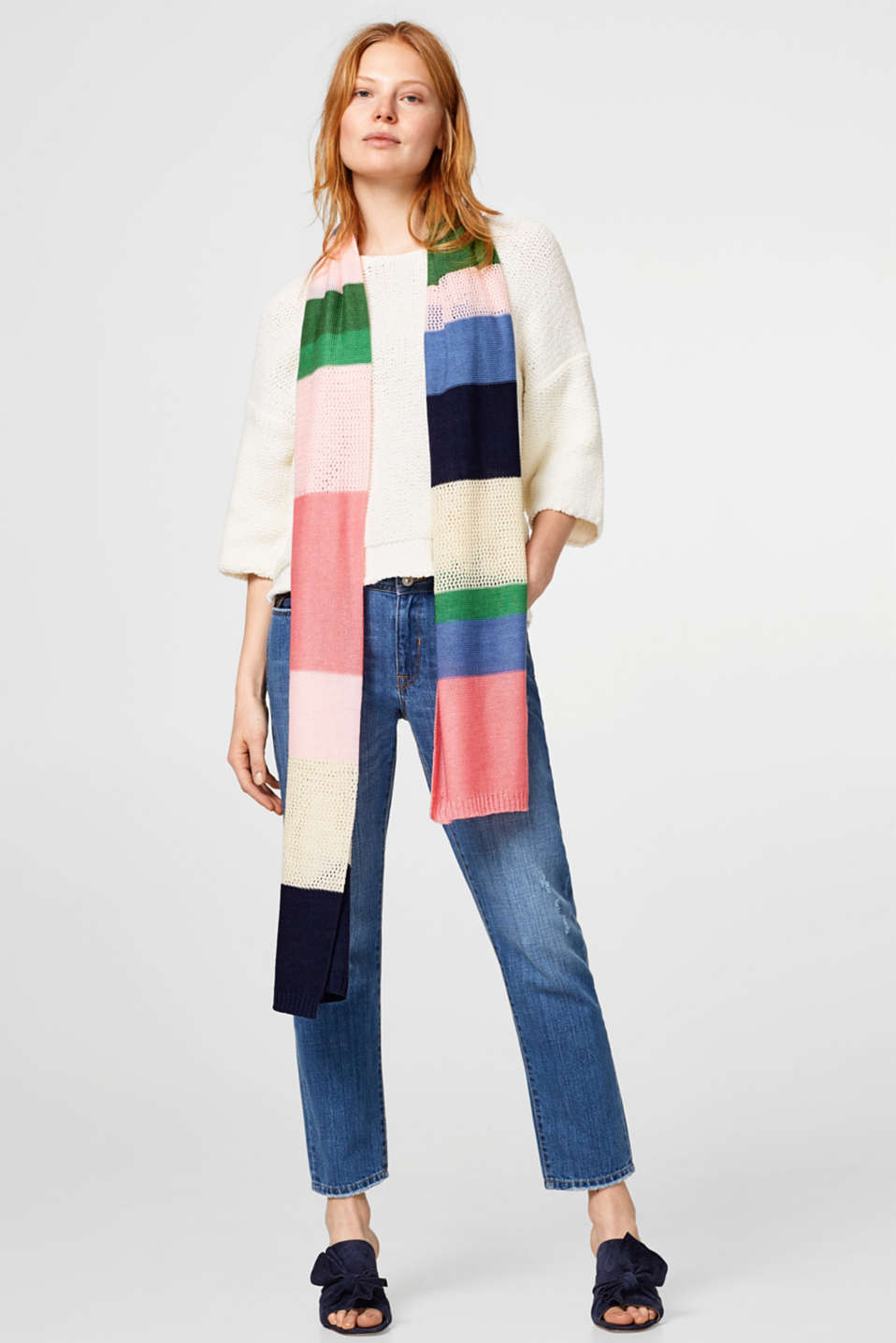 Lightweight knitted scarf with block stripes