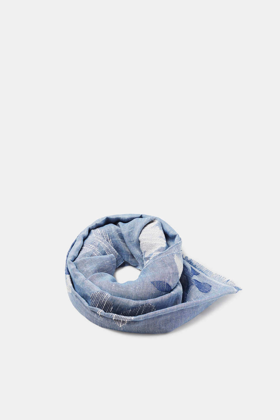 Esprit - Floral woven scarf in a cotton-linen blend
