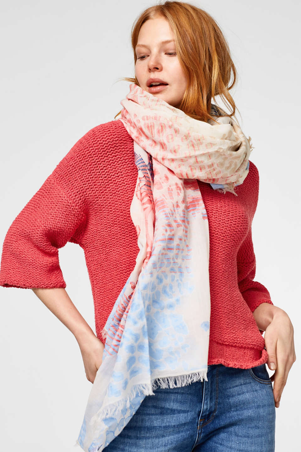 Oversized scarf in fine cotton jacquard