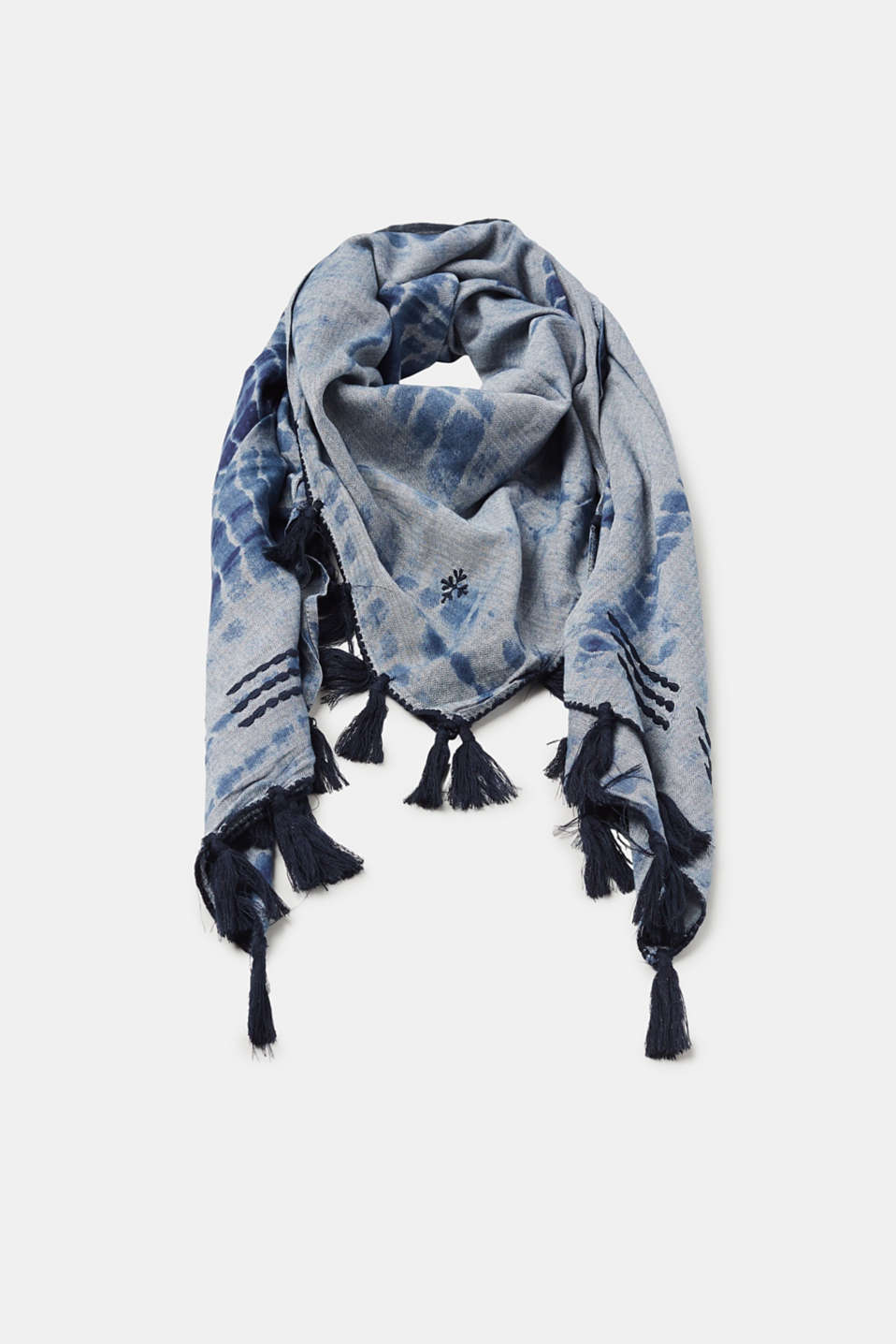 Esprit - Batik scarf with tassels, 100% cotton