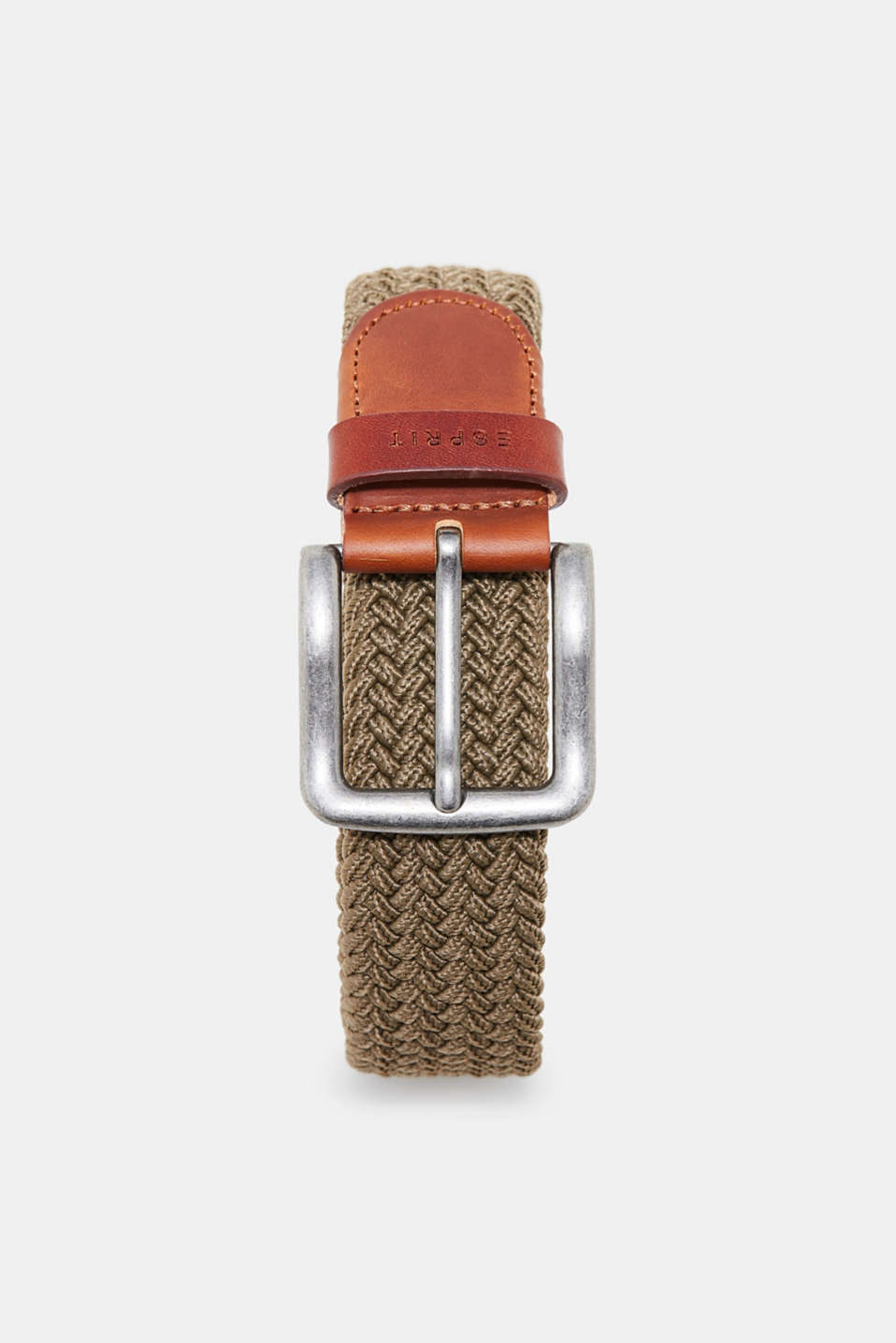 Esprit - Sporty woven belt trimmed with leather