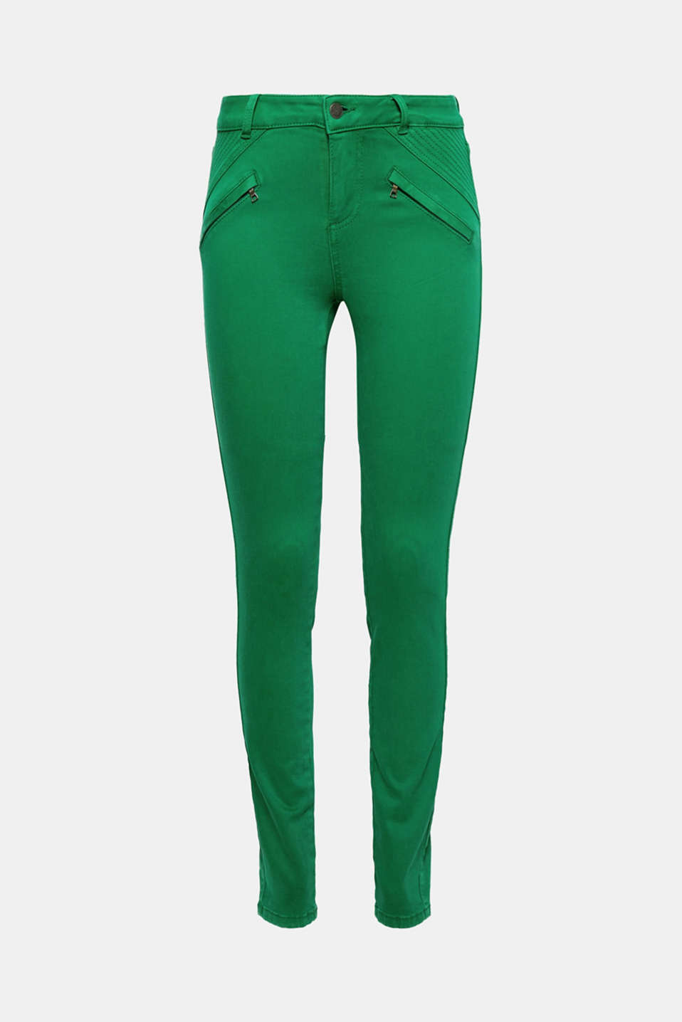Decorative zips and stitching give these skinny trousers a cool biker look with added stretch for comfort!