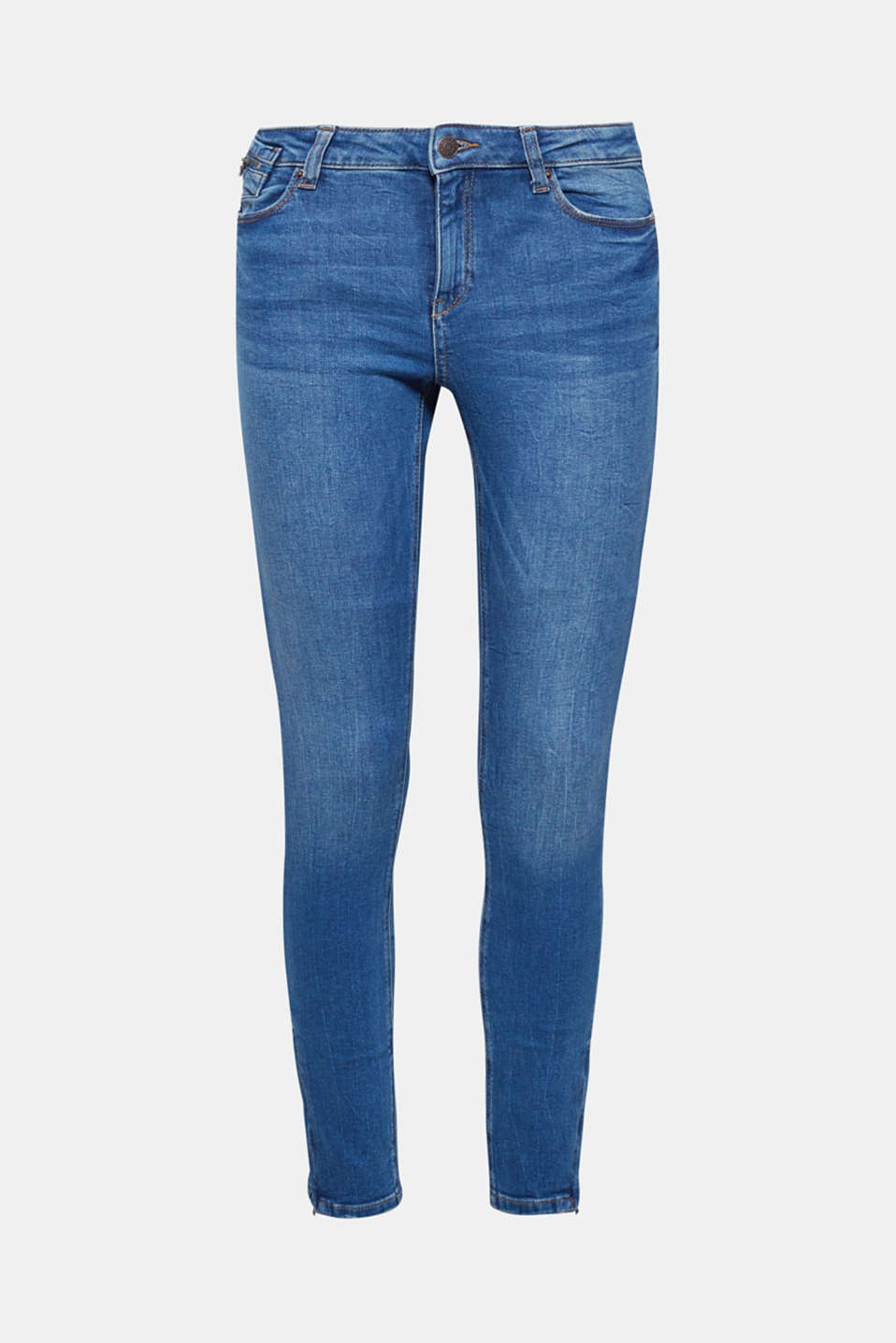 The tight fit and the zips on the coin pocket and on the leg hems give these stretchy jeans their cool look!